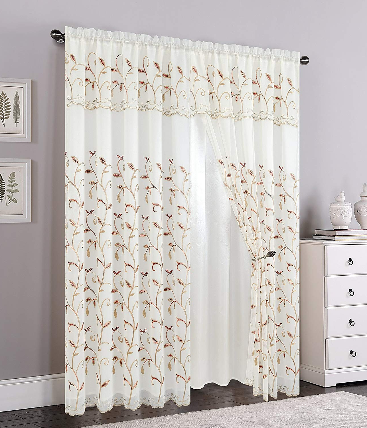 """Elegant Comfort Luxury Curtain/window Panel Set With Attached Valance And Backing 54"""" X 84 Inch (set Of 2), Beige Pertaining To Well Known Elegant Comfort Luxury Penelopie Jacquard Window Curtain Panel Pairs (View 6 of 20)"""