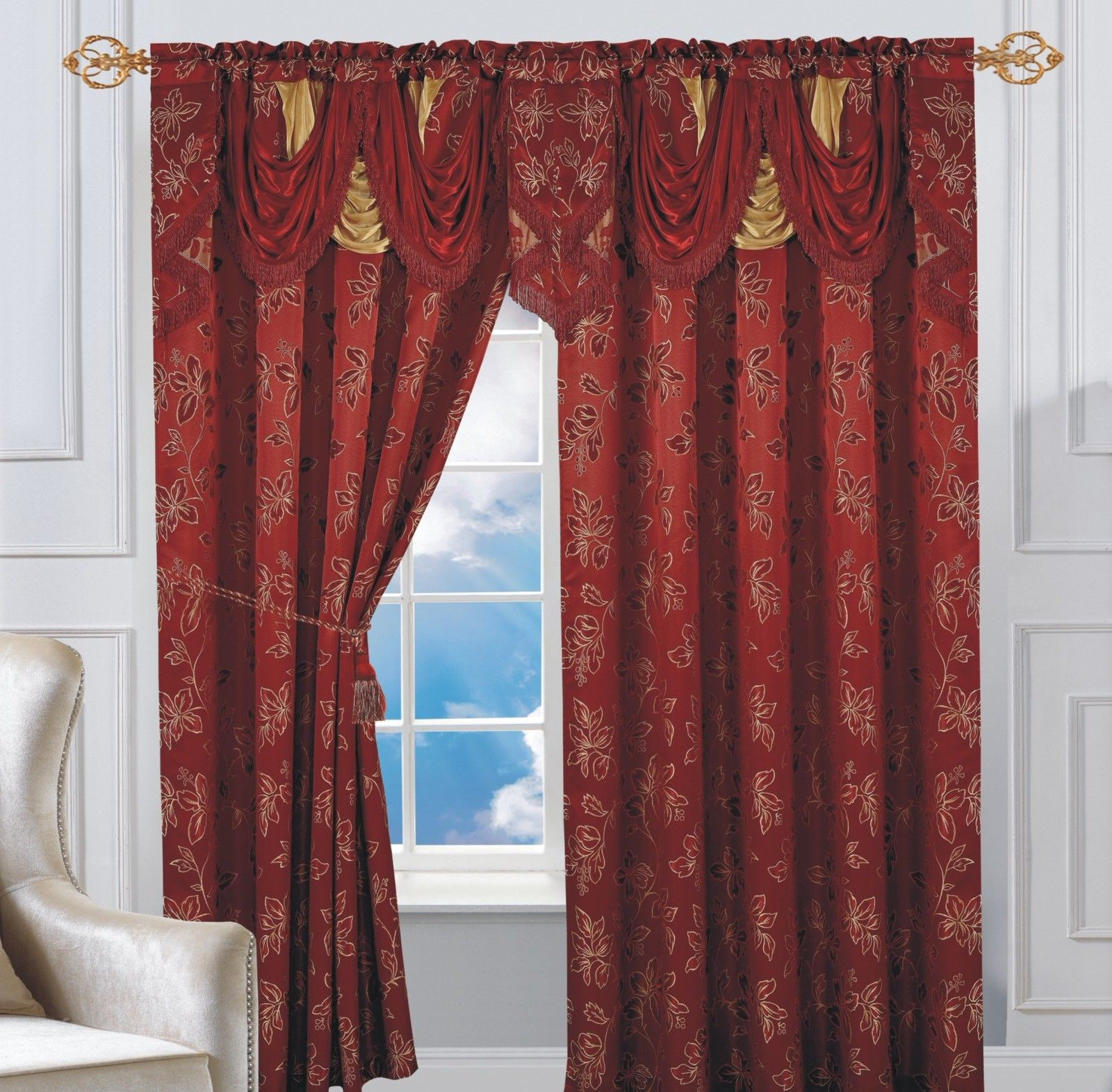 Elegant Comfort Luxury Penelopie Jacquard Window Curtain Panel Pairs Throughout Most Up To Date Set Of 2 Elegant Comfort Penelopie Jacquard Look Curtain Panel, Burgundy (View 9 of 20)
