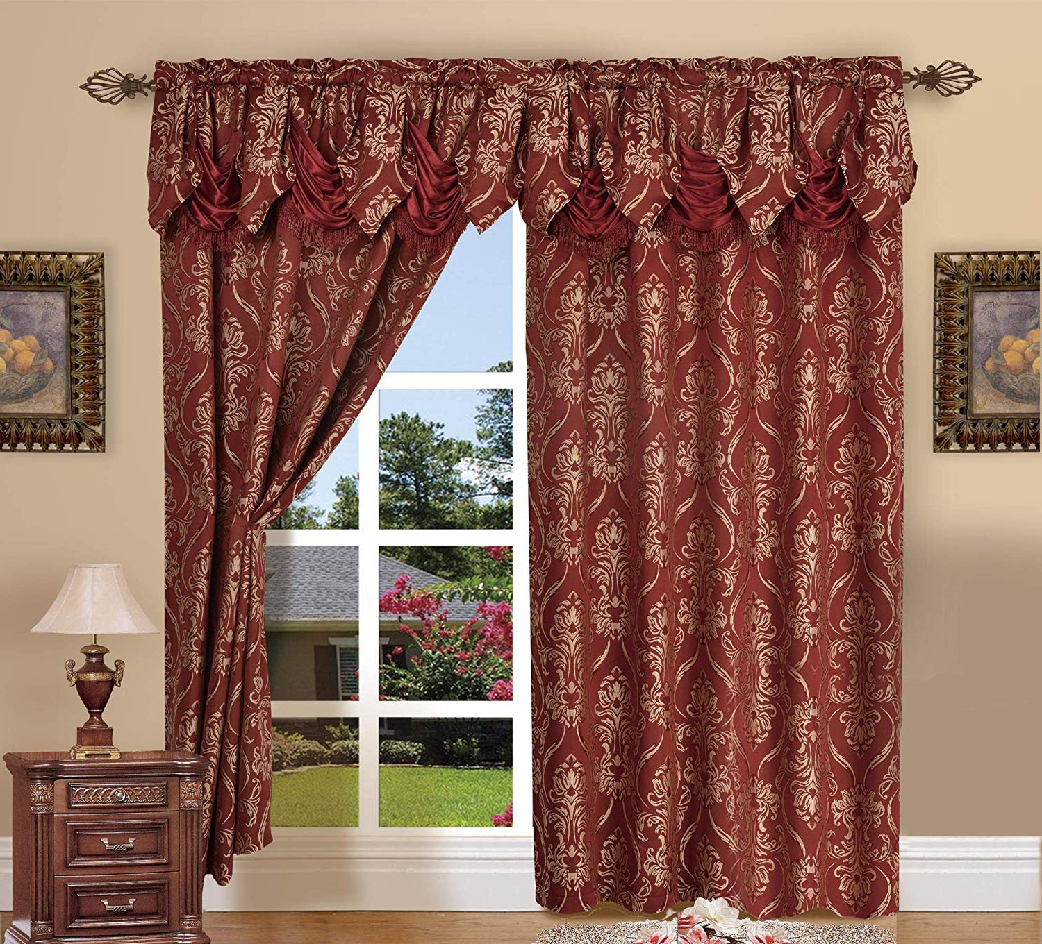Elegant Comfort Penelopie Jacquard Look Curtain Panel Set With Attached  Waterfall Valance, Set Of 2, 54X84 Inches, Burgundy Throughout 2020 Elegant Comfort Luxury Penelopie Jacquard Window Curtain Panel Pairs (Gallery 5 of 20)