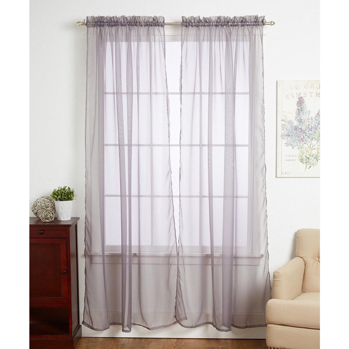 Elegant Comfort Window Sheer Curtain Panel Pairs Pertaining To Favorite Linda Sheer Voile 4 Pack Window Curtain Panel Pairs – 55 X (View 5 of 20)
