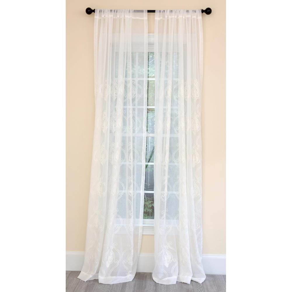 Ella Window Curtain Panels Pertaining To Well Known Manor Luxe Ella Embroidered Sheer Single Rod Pocket Curtain Panel In White  – 52 In. X 84 In. (Gallery 13 of 20)