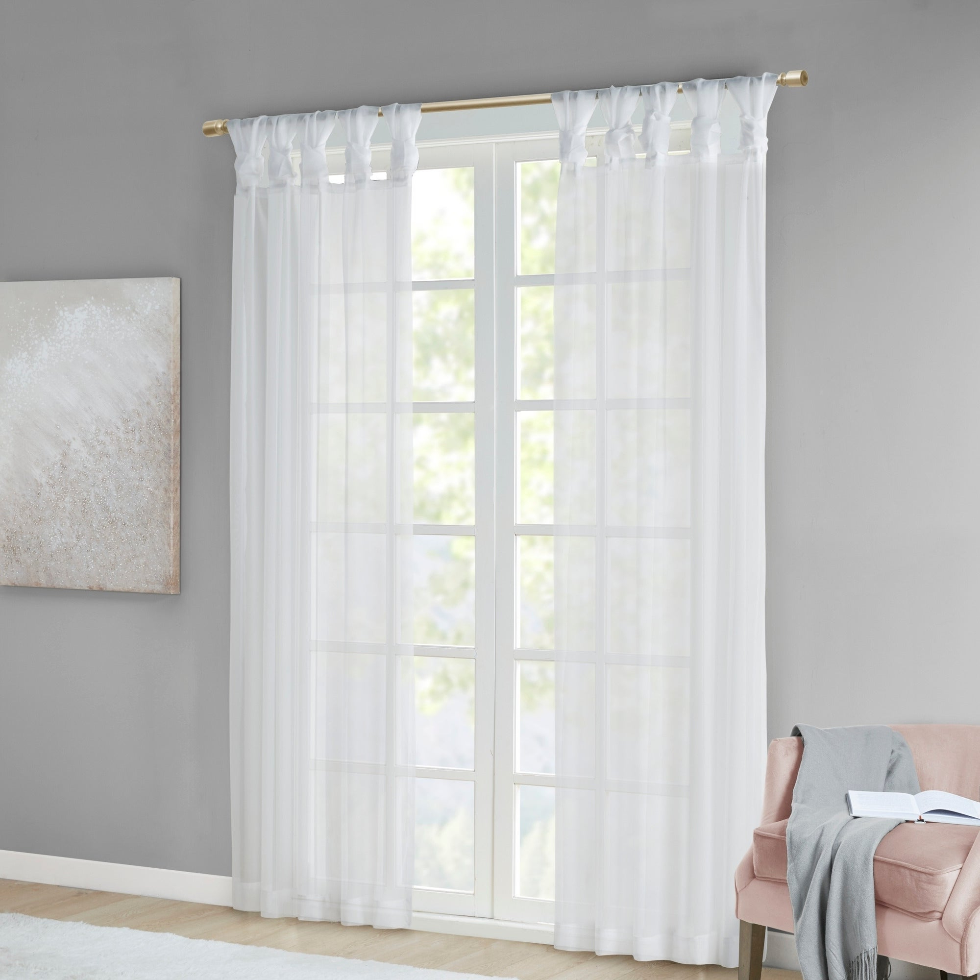 Elowen White Twist Tab Voile Sheer Curtain Panel Pairs In Well Known Madison Park Elowen White Twist Tab Voile Sheer Curtain Panel Pair (Gallery 10 of 20)