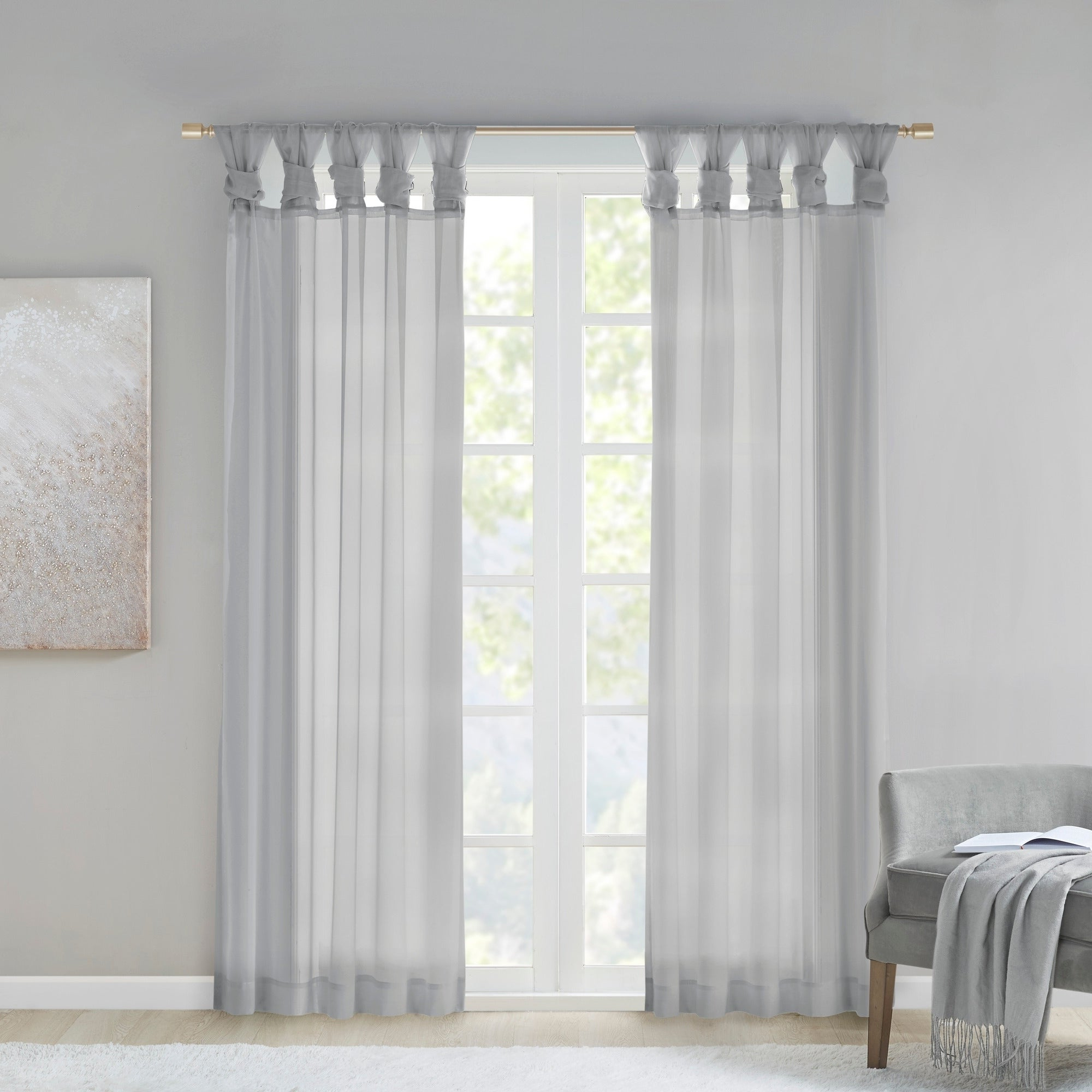 Elowen White Twist Tab Voile Sheer Curtain Panel Pairs Regarding Fashionable Madison Park Elowen White Twist Tab Voile Sheer Curtain Panel Pair (Gallery 2 of 20)
