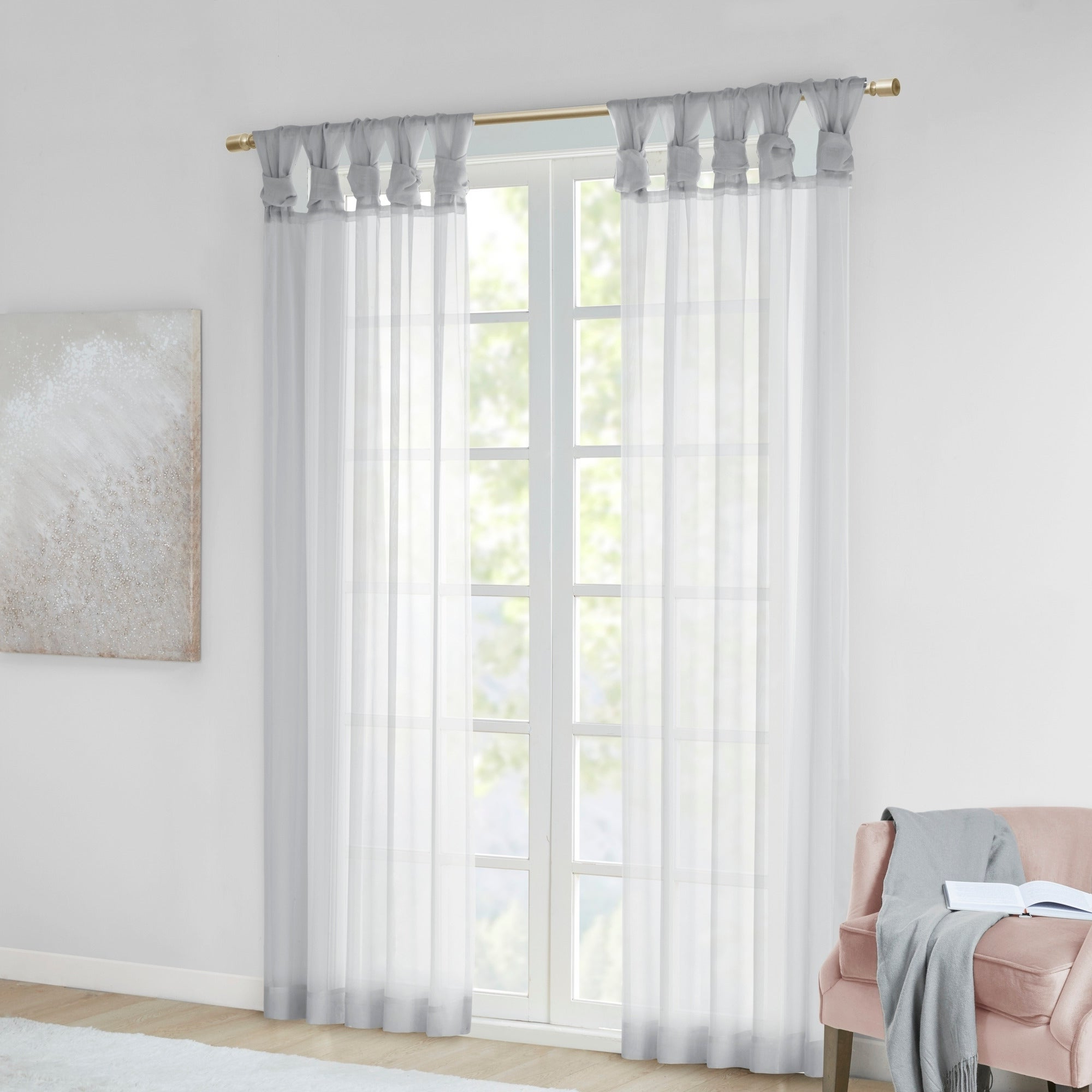 Elowen White Twist Tab Voile Sheer Curtain Panel Pairs Throughout Well Liked Madison Park Elowen White Twist Tab Voile Sheer Curtain Panel Pair (View 12 of 20)