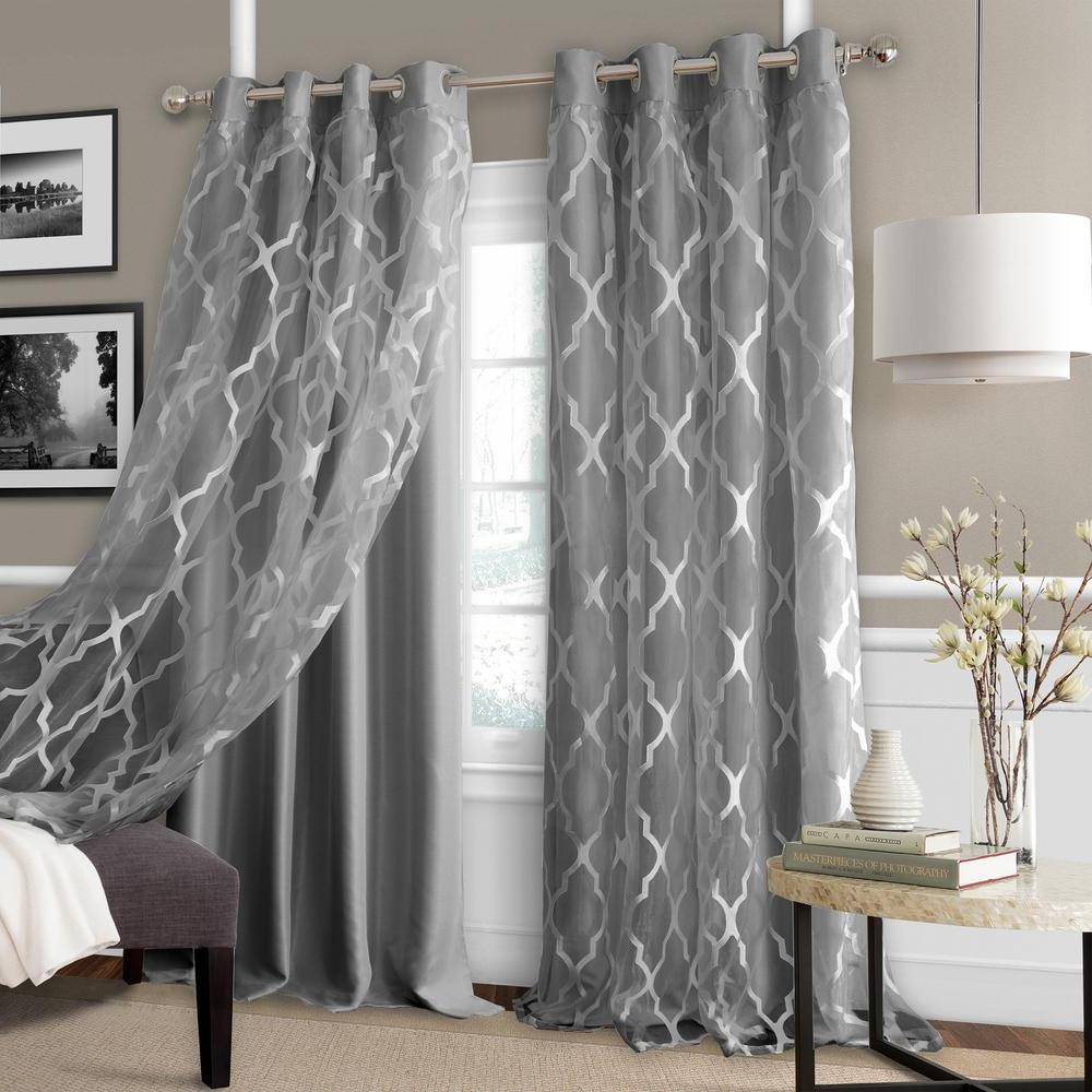 Elrene Bethany Sheer Overlay Blackout Window Curtain Intended For Favorite Elrene Aurora Kids Room Darkening Layered Sheer Curtains (View 12 of 20)