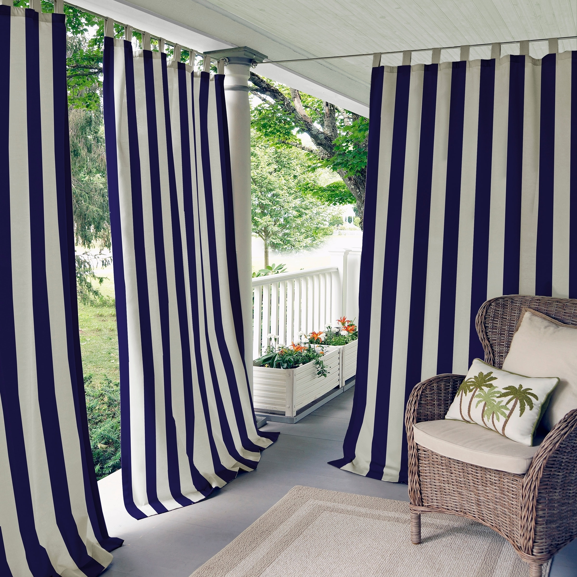 "Elrene Highland Stripe Indoor/outdoor Curtain Panel (52"" W X Pertaining To Most Recently Released Valencia Cabana Stripe Indoor/outdoor Curtain Panels (View 11 of 20)"