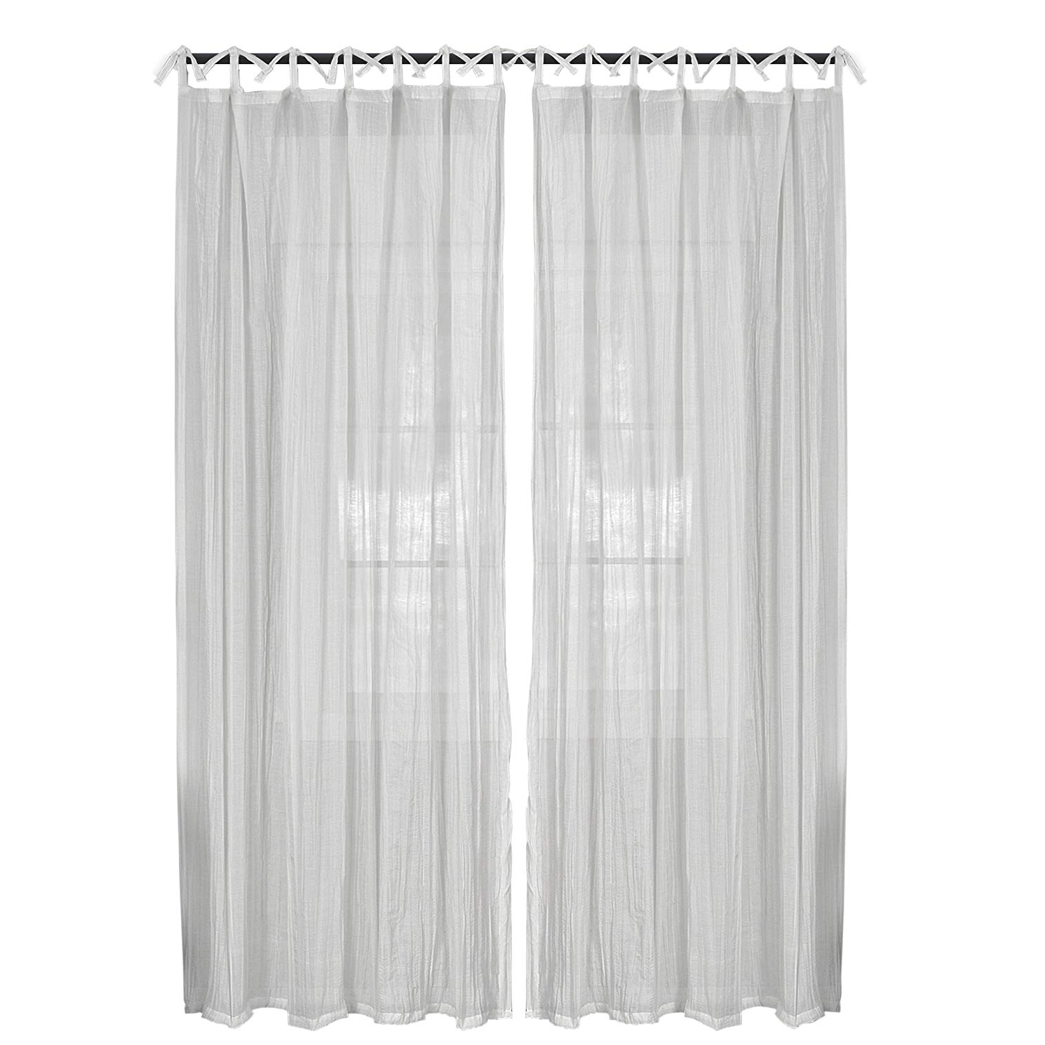 "Elrene Home Fashions 26865638820 Juvenile Tween Tab Top Sheer Single Panel  Window Curtain Drape, 52"" X 84"", White, 50"" X 84"", For Famous Elrene Jolie Tie Top Curtain Panels (Gallery 11 of 20)"