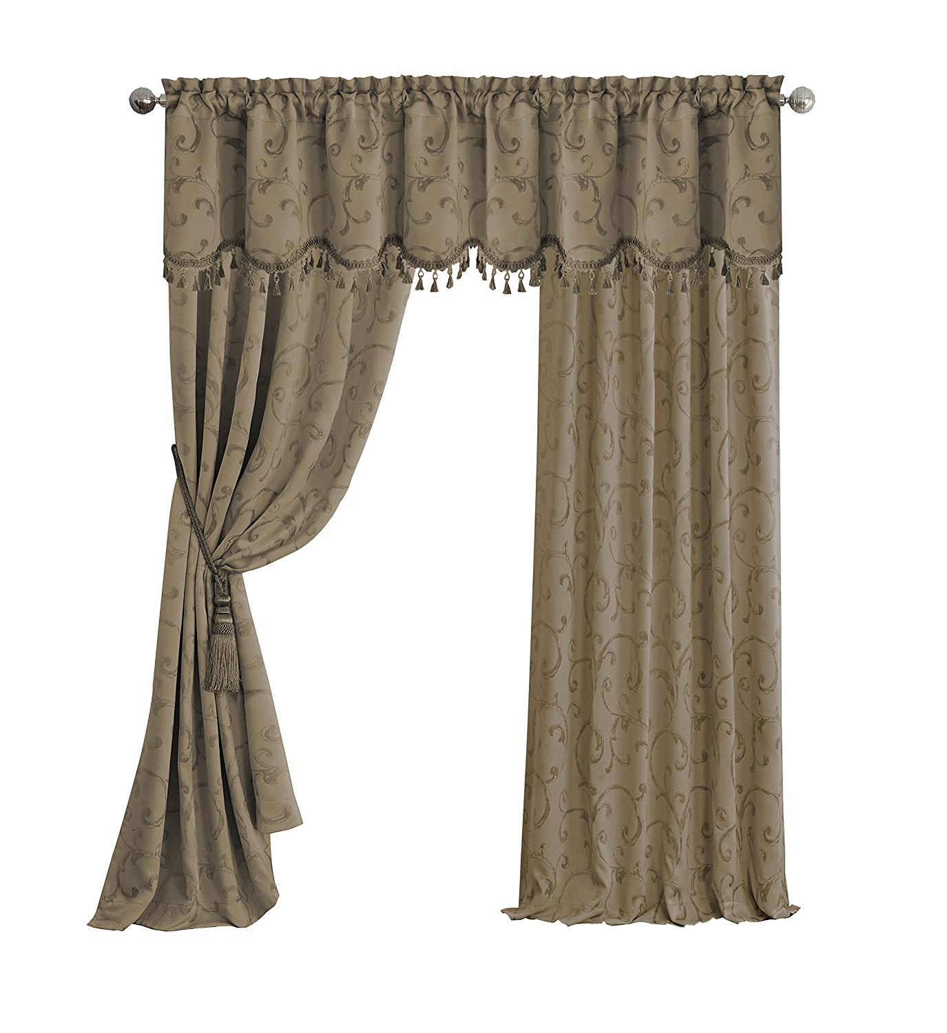 "Elrene Home Fashions 26865901443 Blackout Energy Efficient Room Darkening  Rod Pocket Window Curtain Drape Regal Jacquard Woven Panel, 52"" X 84"", In Latest Elrene Mia Jacquard Blackout Curtain Panels (Gallery 8 of 20)"