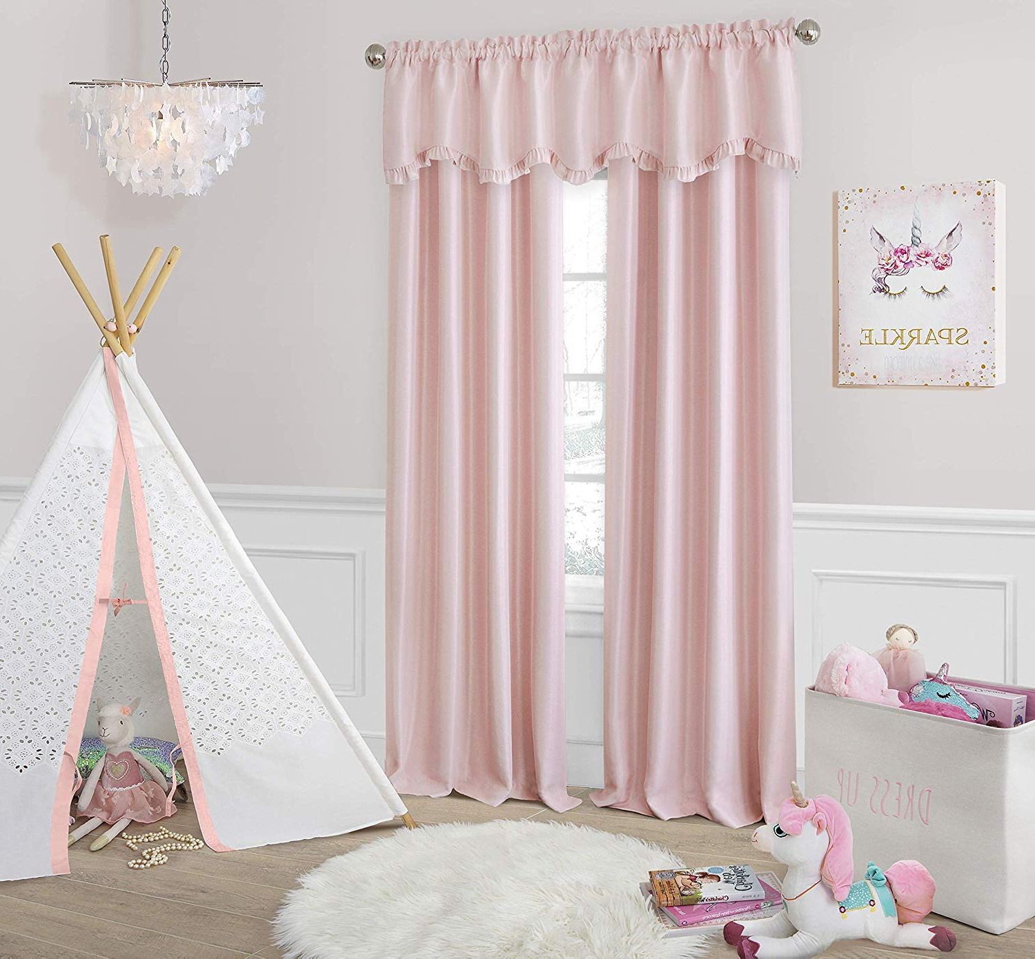 "Elrene Home Fashions Adelaide Nursery And Kids Blackout Rod Pocket Window Curtain Panel, 52"" X 63"" (1), Soft Pink Inside Most Up To Date Riley Kids Bedroom Blackout Grommet Curtain Panels (View 16 of 20)"