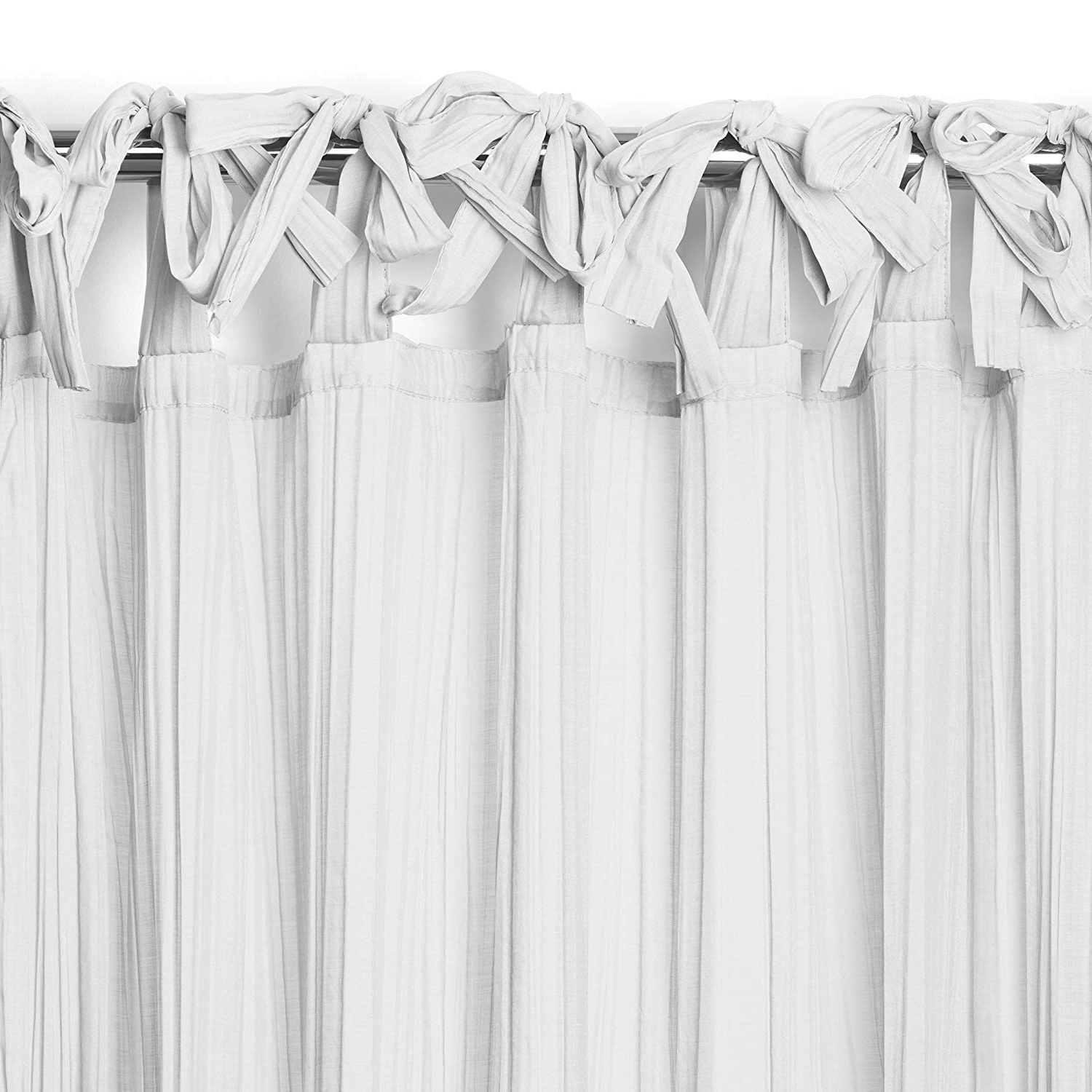 "Elrene Home Fashions Crushed Semi Sheer Adjustable Tie Top Single Panel Window Curtain Drape, 52"" X 95"" (1, White Intended For Current Elrene Jolie Tie Top Curtain Panels (View 5 of 20)"