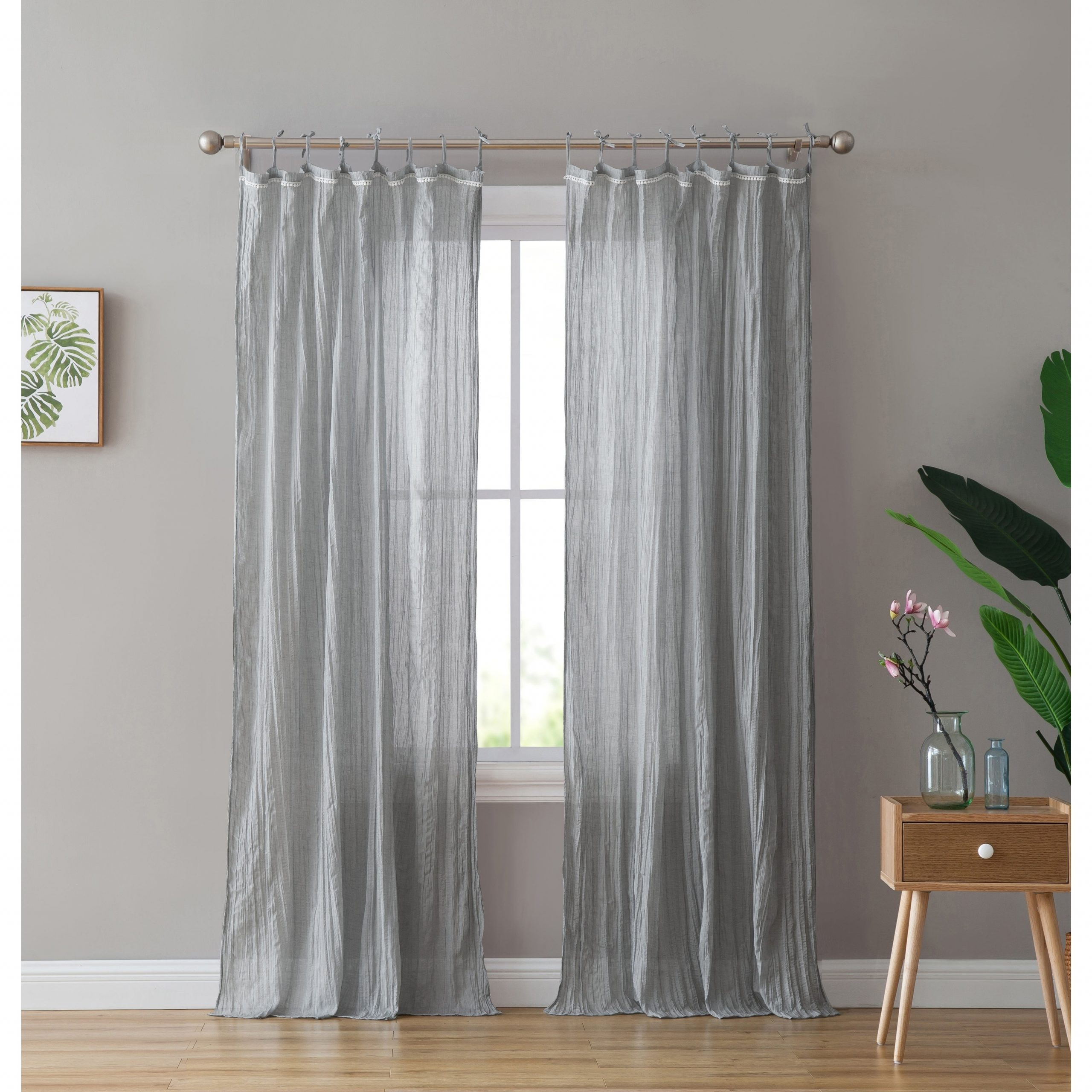 Elrene Jolie Tie Top Curtain Panels Regarding Current Peach & Oak Clover Tie Top Single Curtain Panel (View 17 of 20)