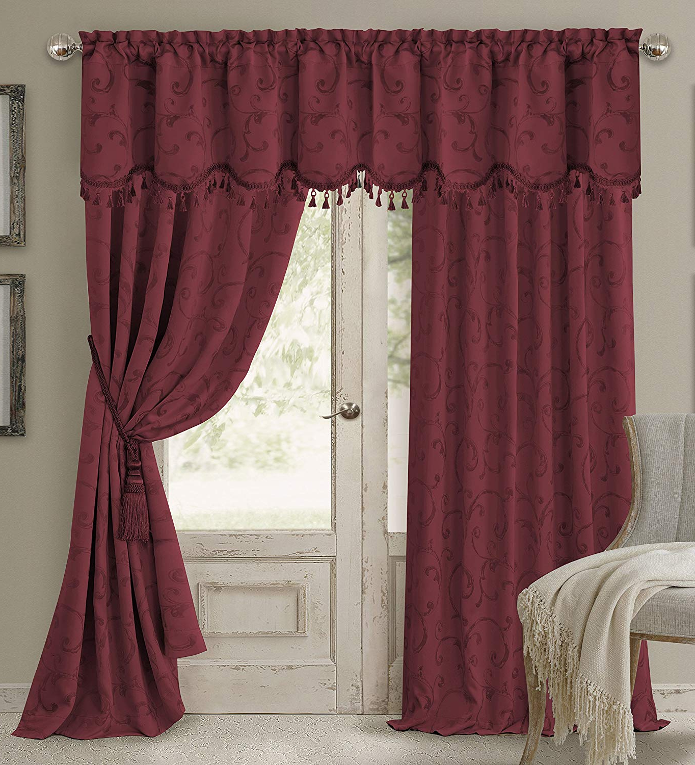 """Elrene Mia Jacquard Blackout Curtain Panels With Favorite Elrene Home Fashions Rod Pocket Damask Window Valance With Tassels, 52"""" W X 19"""" L, Rouge (1 Valance) (View 14 of 20)"""