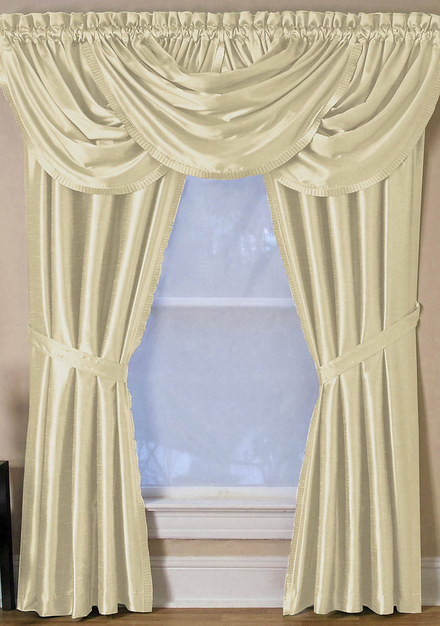 "Elrene Versailles 52"" X 108"" One Rod Pocket Window Panel Ivory Pertaining To Preferred Elrene Versailles Pleated Blackout Curtain Panels (View 16 of 20)"