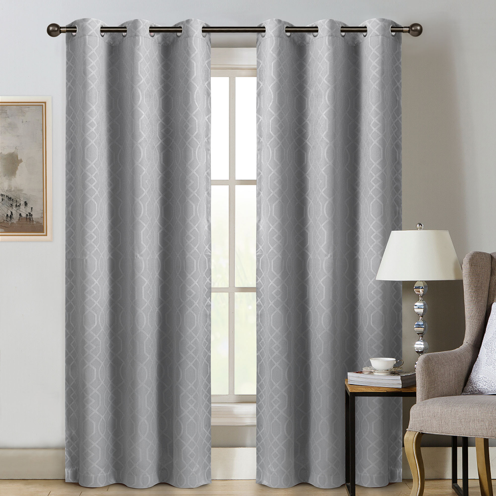 """Embossed Thermal Weaved Blackout Grommet Drapery Curtains Throughout Most Current Sun+block Thermal Weave Embossed Blackout Grommet Single Curtain Panel 42""""x84"""" (View 5 of 20)"""