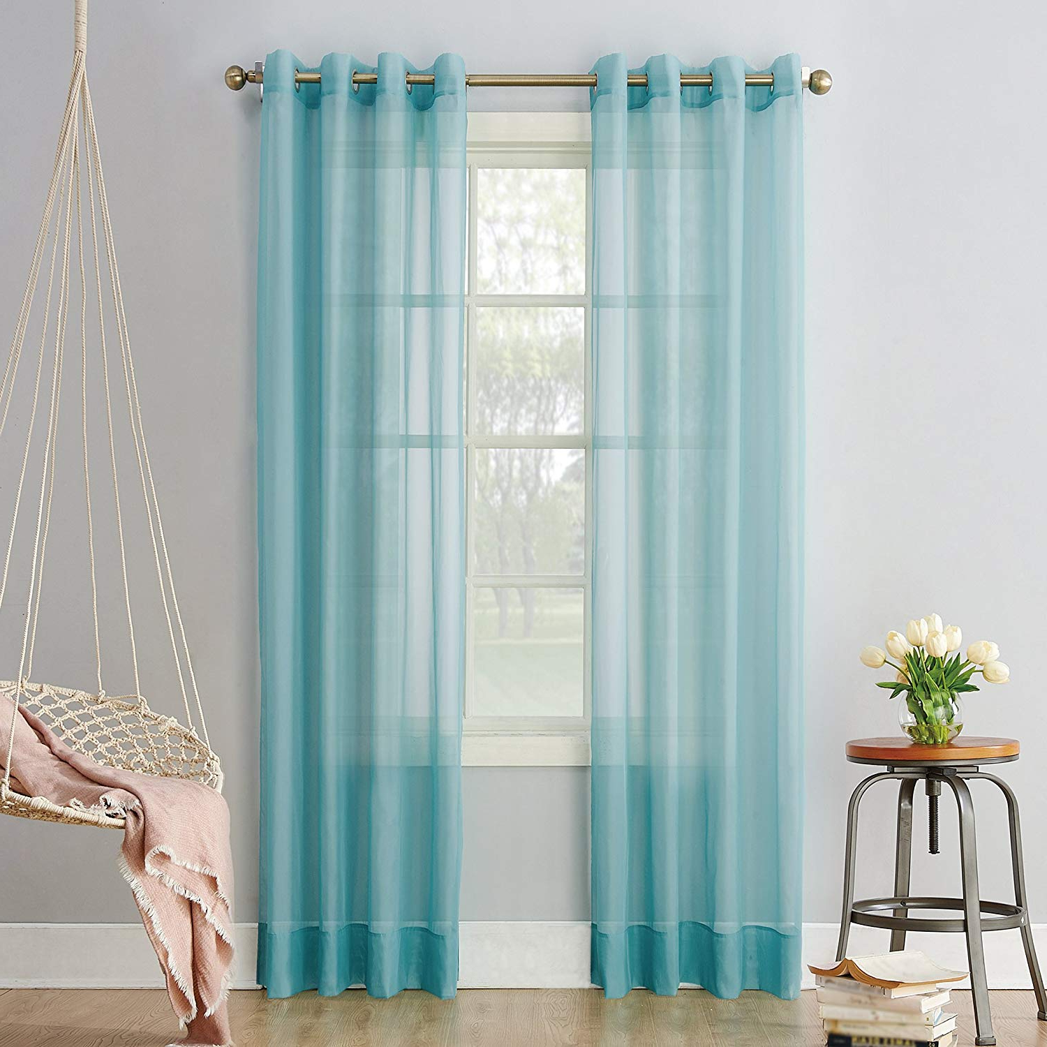 """Emily Sheer Voile Grommet Curtain Panels For Well Liked No. 918 Emily Sheer Voile Grommet Curtain Panel, 59"""" X 63"""", Aegean Blue (Gallery 5 of 20)"""