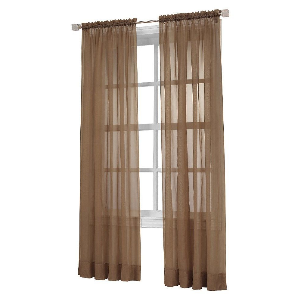 "Emily Sheer Voile Grommet Curtain Panels Pertaining To Most Popular Curtain Panel Emily Sheer Voile Taupe (Brown) (59""x63"") – No (Gallery 8 of 20)"