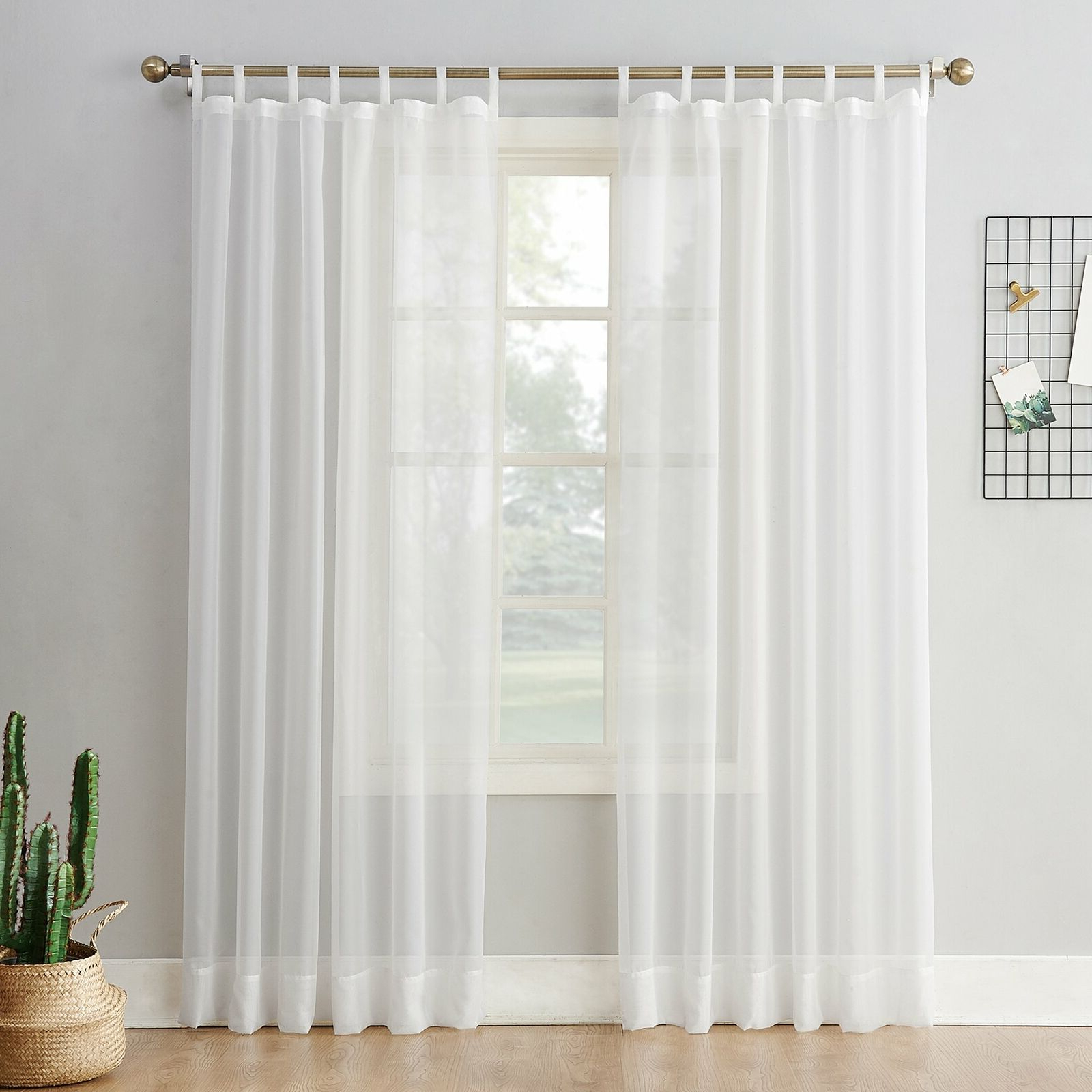 "Emily Sheer Voile Grommet Curtain Panels Regarding 2021 No. 918 Emily Sheer Voile Tab Top Curtain Panel, 59"" X 84"", White (Gallery 11 of 20)"