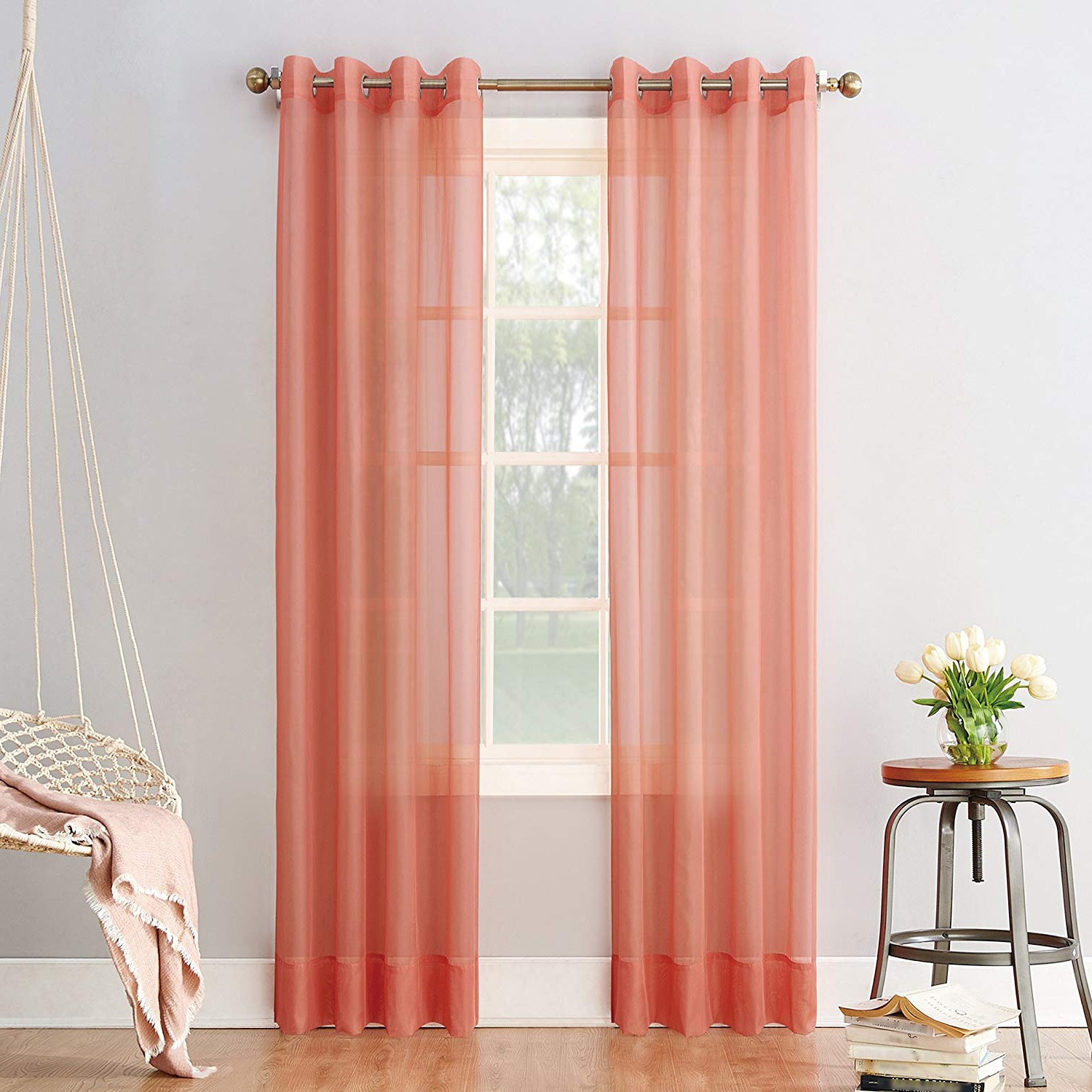 "Emily Sheer Voile Grommet Curtain Panels With Most Popular No. 918 Emily Sheer Voile Grommet Curtain Panel, 59"" X 95"", Coral (Gallery 2 of 20)"