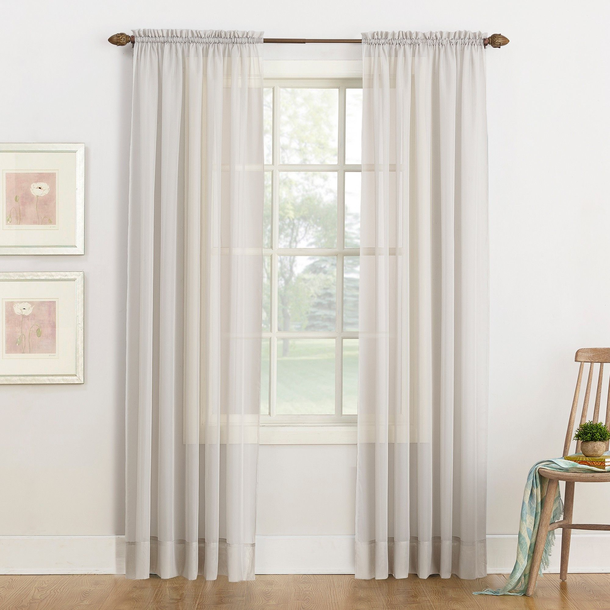 "Emily Sheer Voile Rod Pocket Curtain Panel Silver 59""x84 Throughout Fashionable Archaeo Slub Textured Linen Blend Grommet Top Curtains (View 12 of 20)"