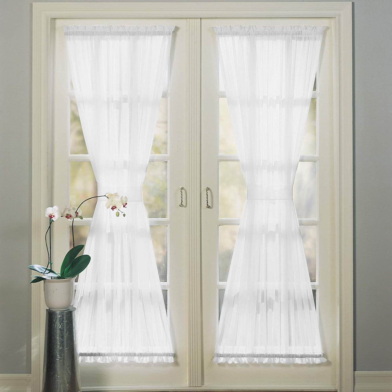 "Emily Sheer Voile Single Curtain Panels Throughout Popular No. 918 Emily Sheer Voile Single Curtain Door Panel, 59"" X 72"", White (Gallery 1 of 20)"