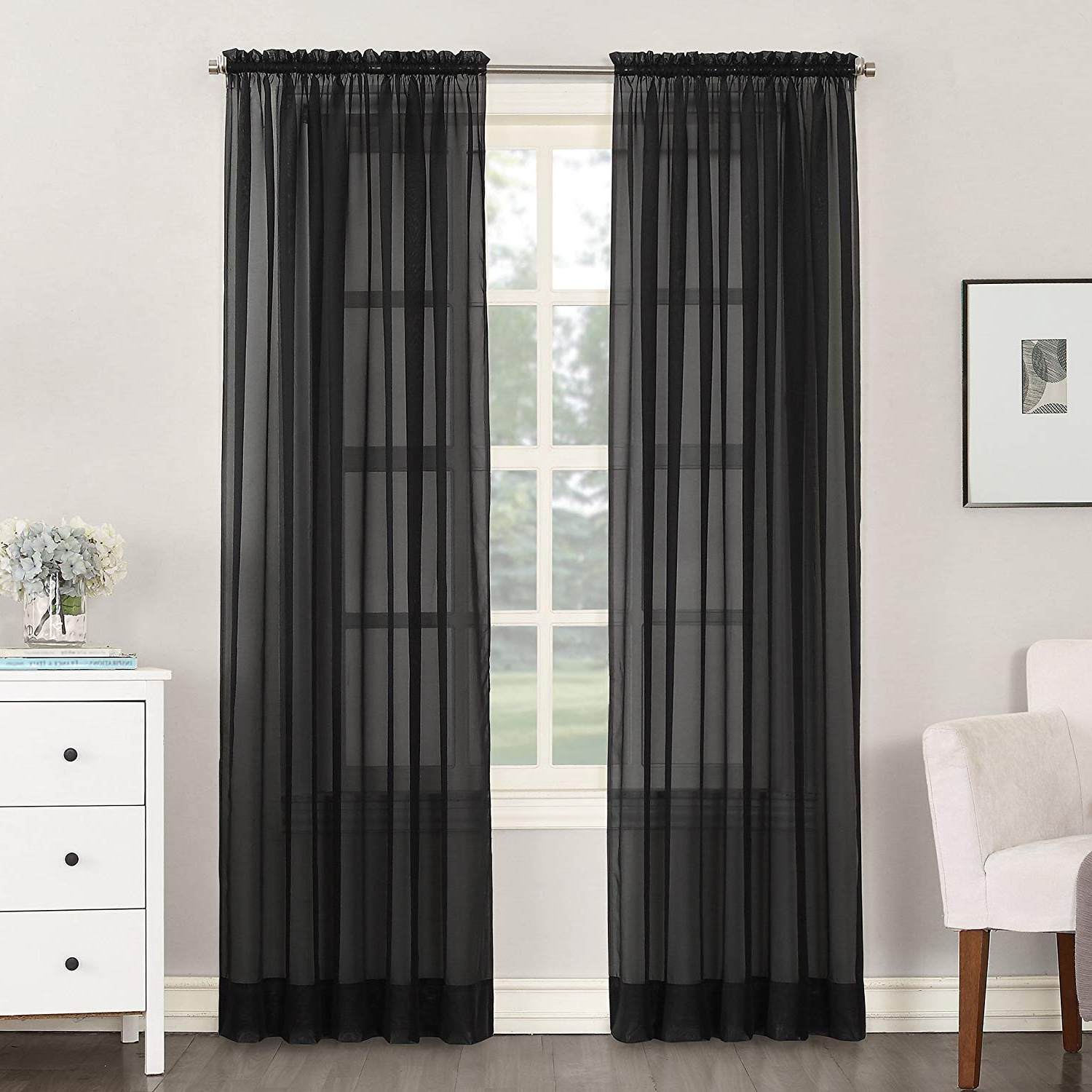 """Emily Sheer Voile Single Curtain Panels With Regard To Most Current No. 918 Emily Sheer Voile Rod Pocket Curtain Panel, 59"""" X 84"""", Black (Gallery 10 of 20)"""