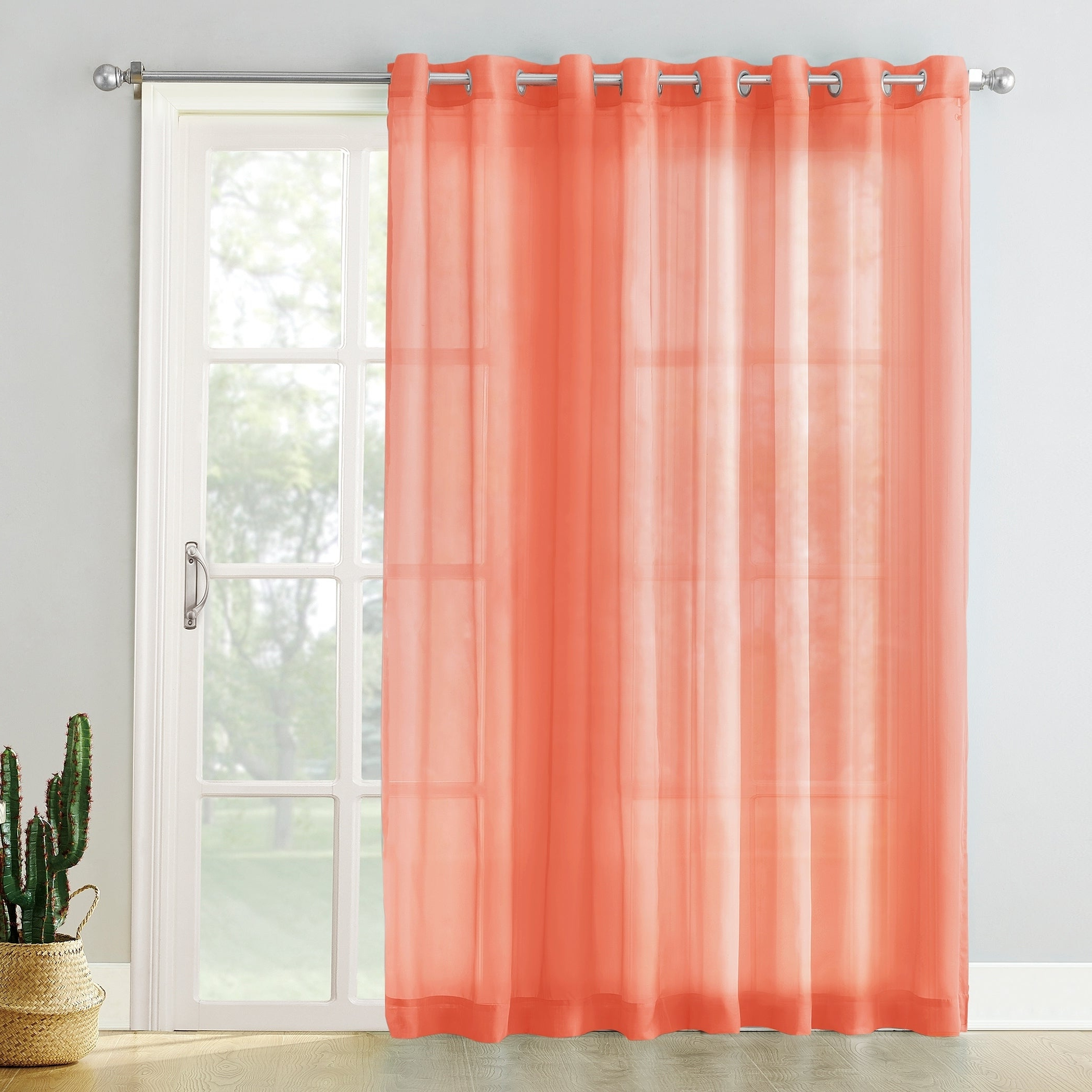 Emily Sheer Voile Solid Single Patio Door Curtain Panels Intended For Well Liked No (View 7 of 20)