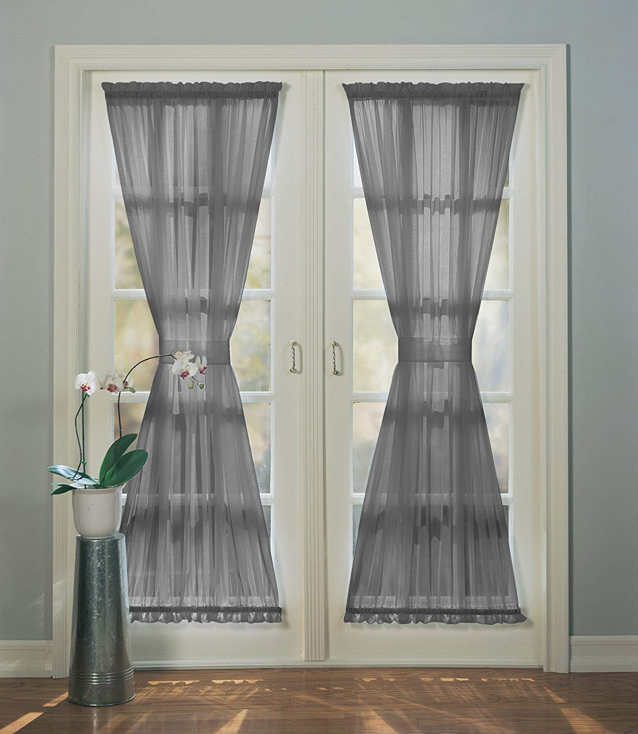 "Emily Sheer Voile Solid Single Patio Door Curtain Panels Within Widely Used No. 918 Emily Sheer Voile Single Curtain Door Panel 59"" X 72"", Charcoal Gray (Gallery 2 of 20)"