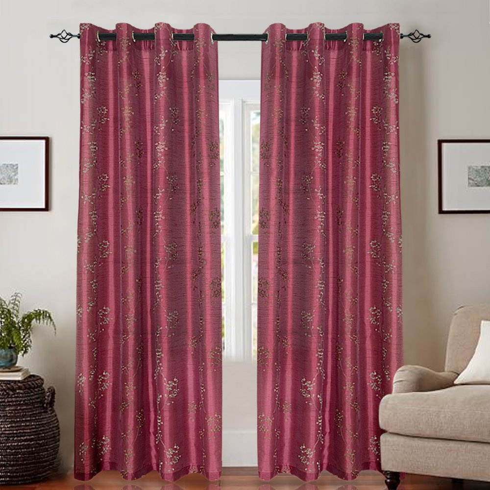 Erica Crushed Sheer Voile Grommet Curtain Panels Inside Best And Newest Red Burgundy Floral Window Curtains – Ease Bedding With Style (View 20 of 20)