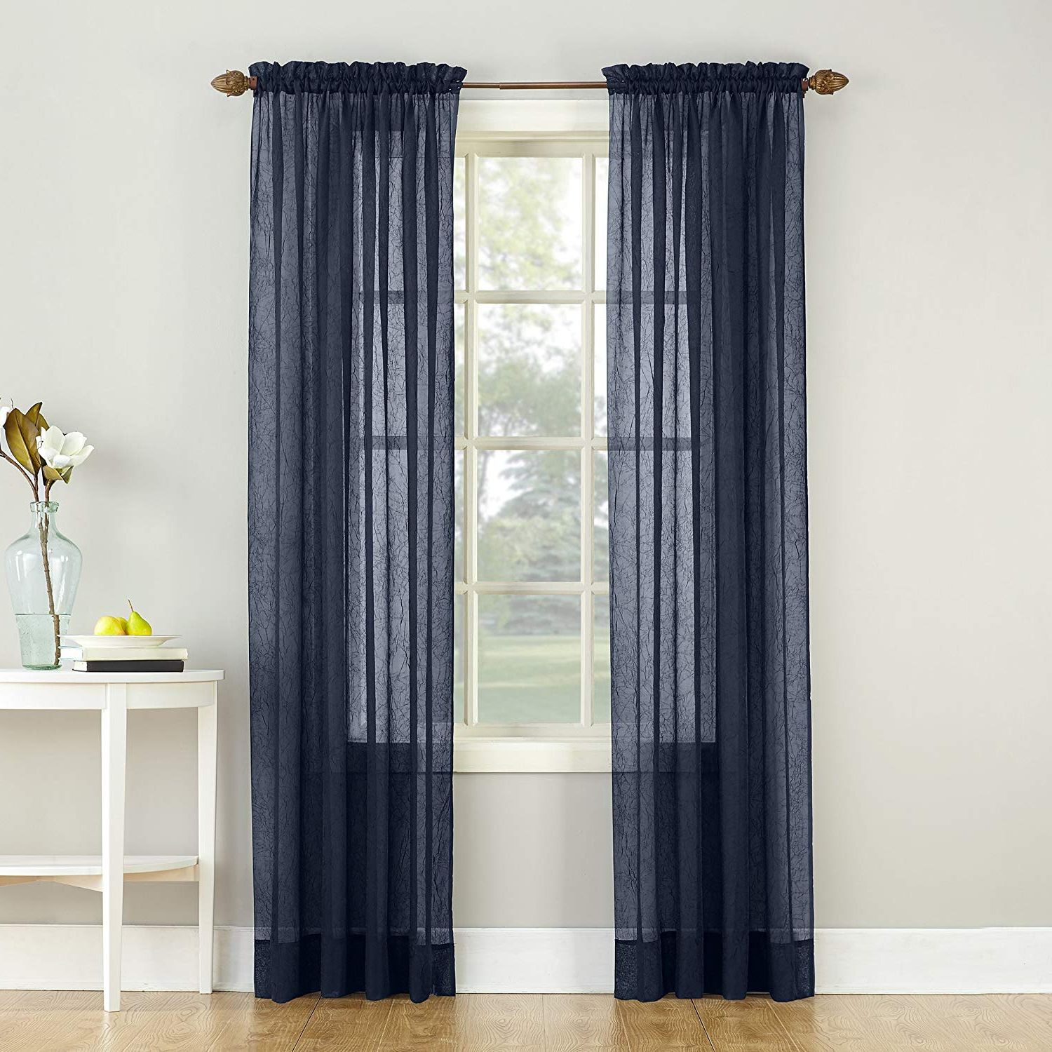 "Erica Crushed Sheer Voile Grommet Curtain Panels Inside Recent No. 918 Erica Crushed Texture Sheer Voile Rod Pocket Curtain Panel, 51"" X  84"", Navy Blue (Gallery 5 of 20)"