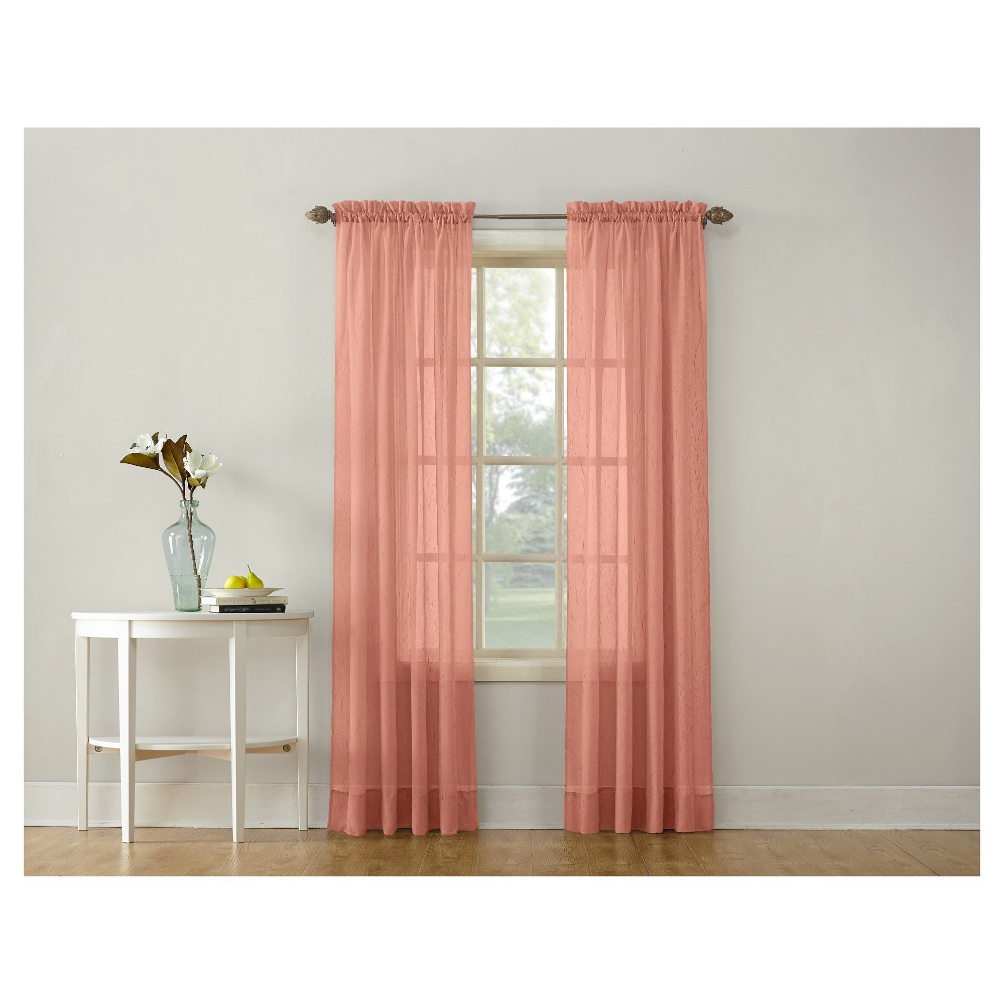 Erica Crushed Sheer Voile Grommet Curtain Panels Inside Well Known Erica Crushed Sheer Voile Rod Pocket Curtain Panel Coral (View 18 of 20)