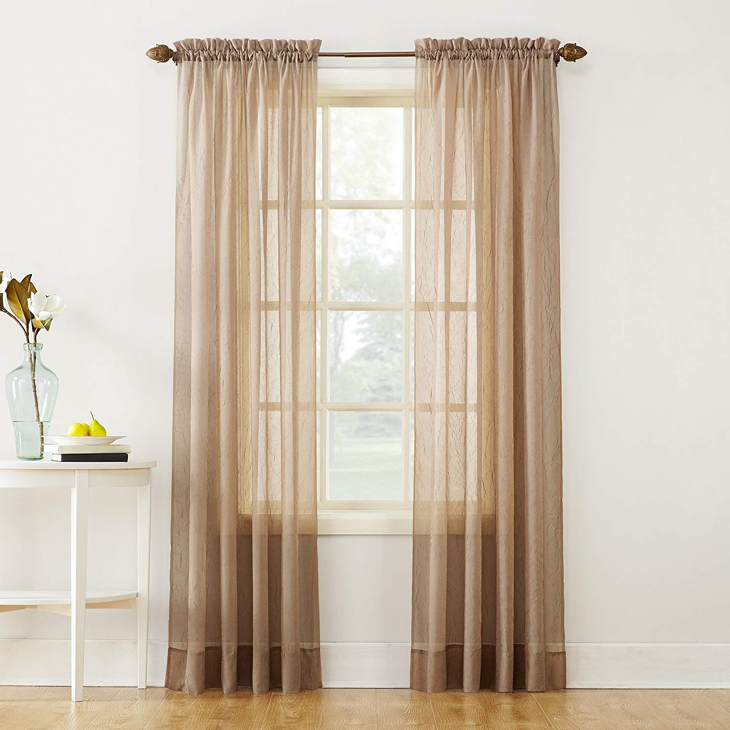 "Erica Crushed Sheer Voile Grommet Curtain Panels Pertaining To Most Current No. 918 Erica Crushed Texture Sheer Voile Rod Pocket Curtain Panel, 51"" X  84"", Taupe (Gallery 8 of 20)"