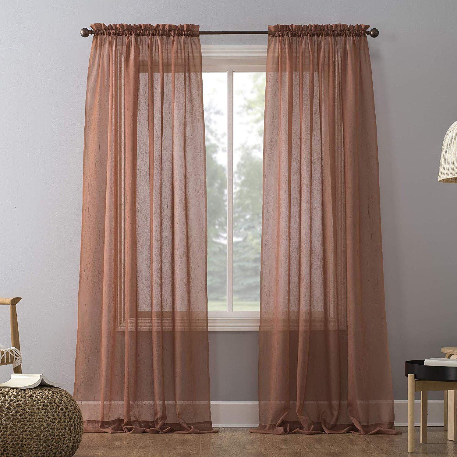 """Erica Sheer Crushed Voile Single Curtain Panels Intended For 2020 No. 918 Erica Crushed Voile Sheer Rod Pocket Curtain Panel, 51"""" X 84"""", Fig (Gallery 5 of 20)"""