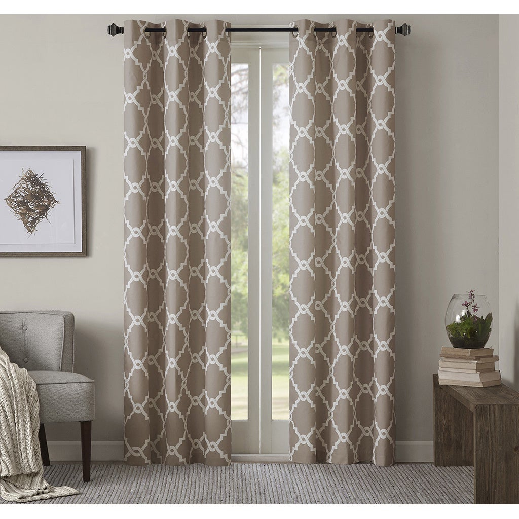 Essentials Almaden Fretwork Printed Grommet Top Curtain Panel Pairs Inside Well Known Madison Park Essentials Almaden Fretwork Printed Grommet Top Curtain Panel  Pair (Gallery 2 of 20)