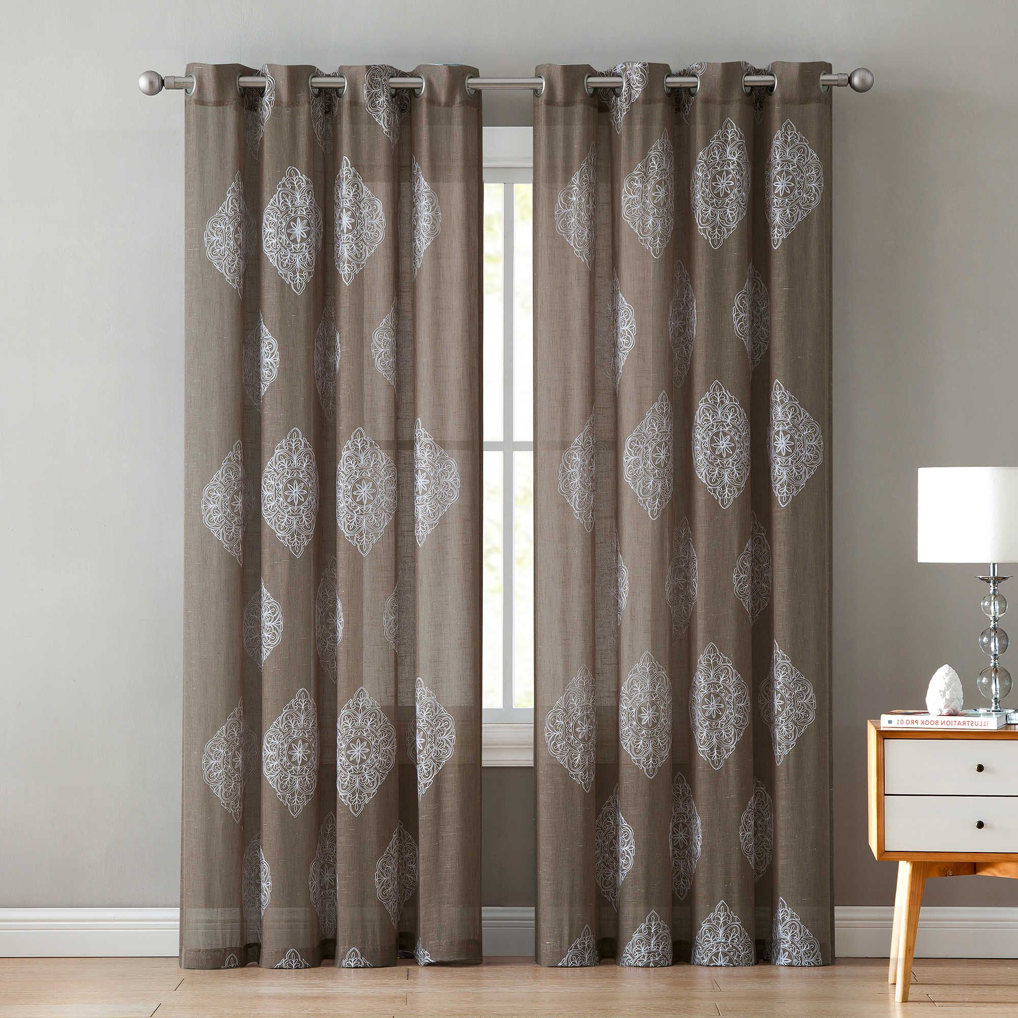 Essentials Almaden Fretwork Printed Grommet Top Curtain Panel Pairs Throughout 2021 Vcny Home Gemma 84 Inch Grommet Top Window Curtain Panel In (View 14 of 20)