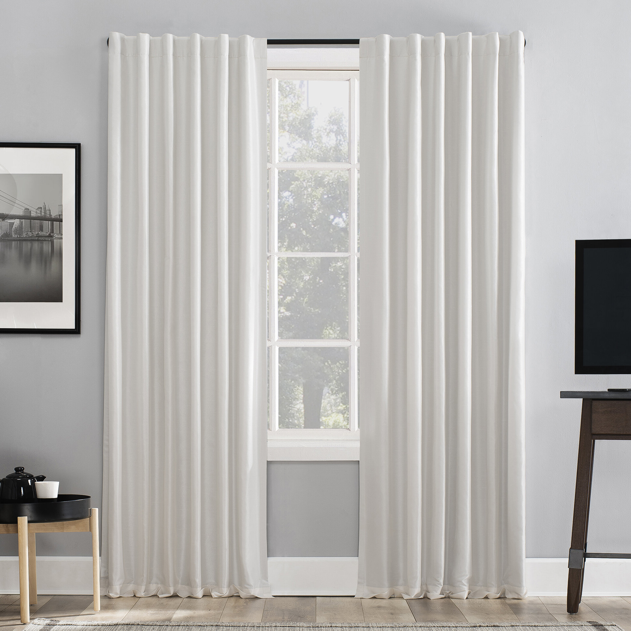 Evelina Faux Dupioni Silk Extreme Solid Max Blackout Thermal Tab Top Single  Curtain Panel Inside Widely Used Evelina Faux Dupioni Silk Extreme Blackout Back Tab Curtain Panels (Gallery 4 of 20)