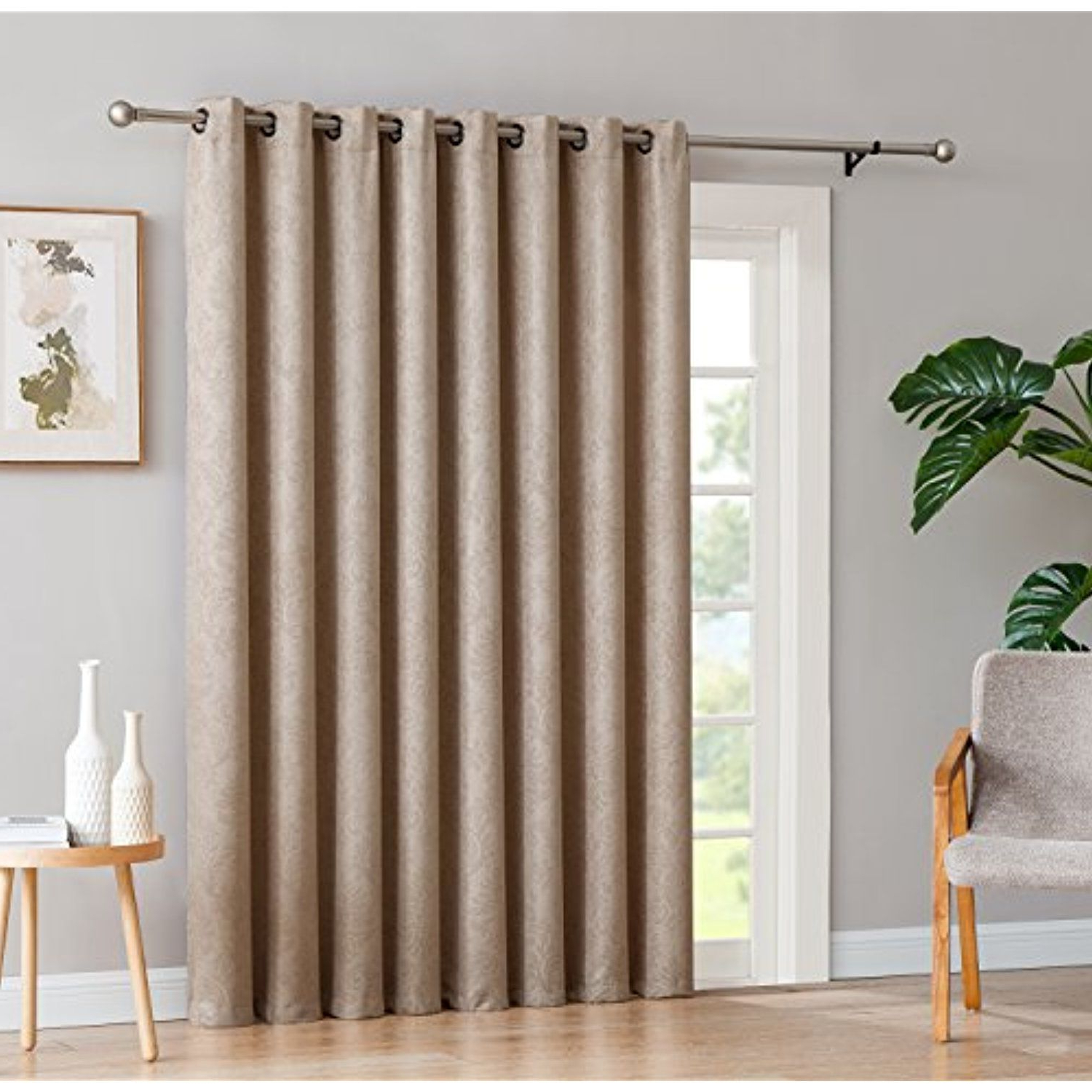 Evelyn – 1 Patio Extra Wide Curtain Panel With 16 Grommets For Most Popular Embossed Thermal Weaved Blackout Grommet Drapery Curtains (Gallery 7 of 20)
