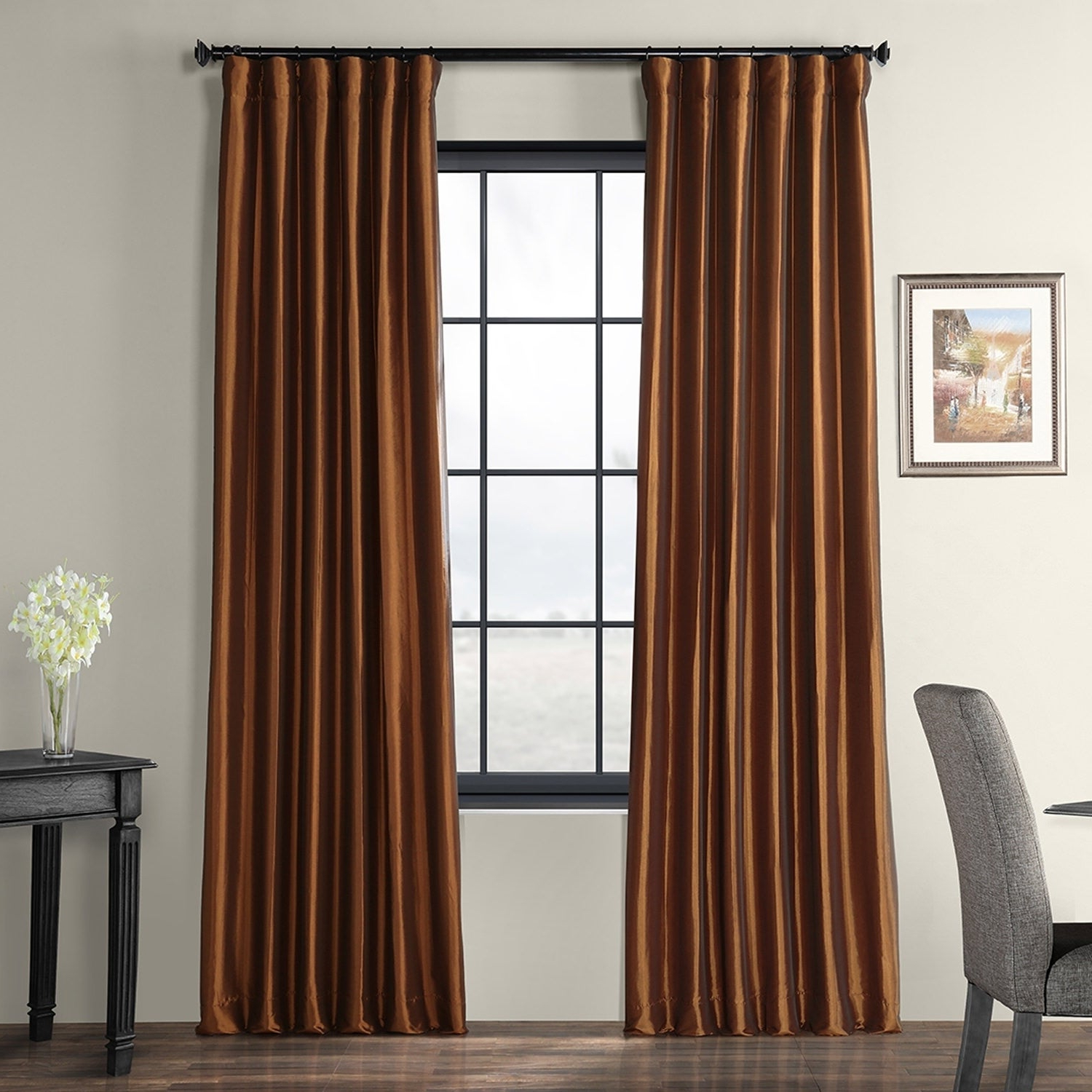 Exclusive Fabrics Copper Brown Faux Silk Taffeta Curtain Panel Regarding Most Recently Released Luxury Collection Faux Leather Blackout Single Curtain Panels (View 3 of 20)