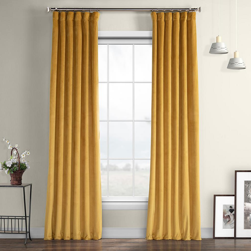 Exclusive Fabrics & Furnishings Aztec Gold Heritage Plush Velvet Curtain –  50 In. W X 84 In. L With Latest Heritage Plush Velvet Curtains (Gallery 2 of 20)