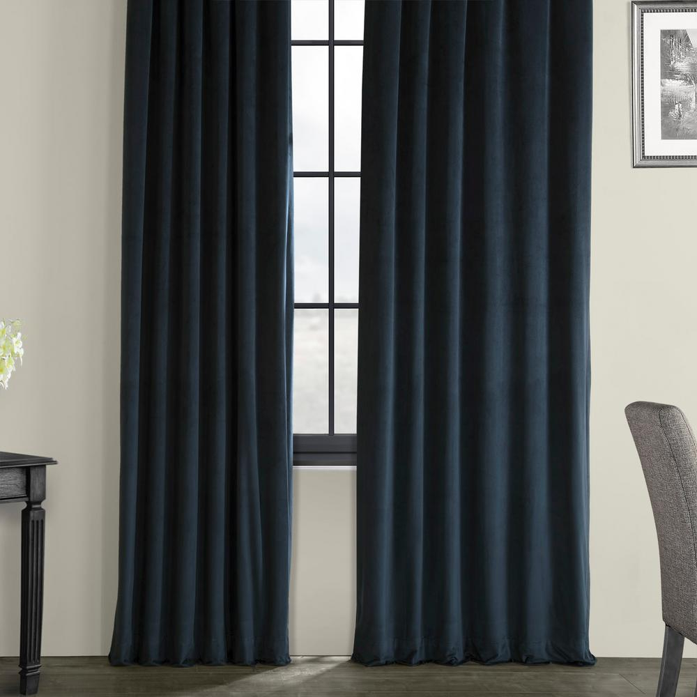 Exclusive Fabrics & Furnishings Blackout Signature Midnight Blue Blackout  Velvet Curtain – 50 In. W X 84 In. L (1 Panel) Intended For Well Known Signature Ivory Velvet Blackout Single Curtain Panels (Gallery 18 of 20)