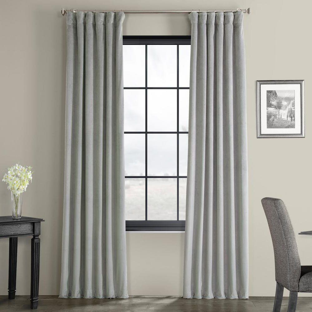 Exclusive Fabrics & Furnishings Blackout Signature Silver Grey Blackout  Velvet Curtain – 50 In. W X 96 In (View 4 of 20)