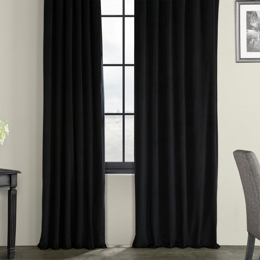 Exclusive Fabrics & Furnishings Blackout Signature Warm Black Blackout  Velvet Curtain – 50 In. W X 120 In. L (1 Panel) For Famous Warm Black Velvet Single Blackout Curtain Panels (Gallery 2 of 20)