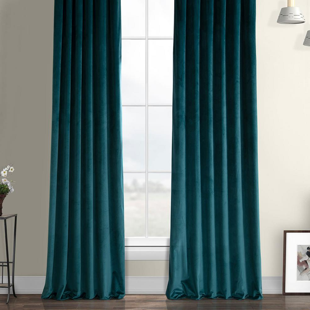 Exclusive Fabrics & Furnishings Deep Sea Teal Blue Heritage Plush Velvet Curtain – 50 In. W X 96 In (View 15 of 20)