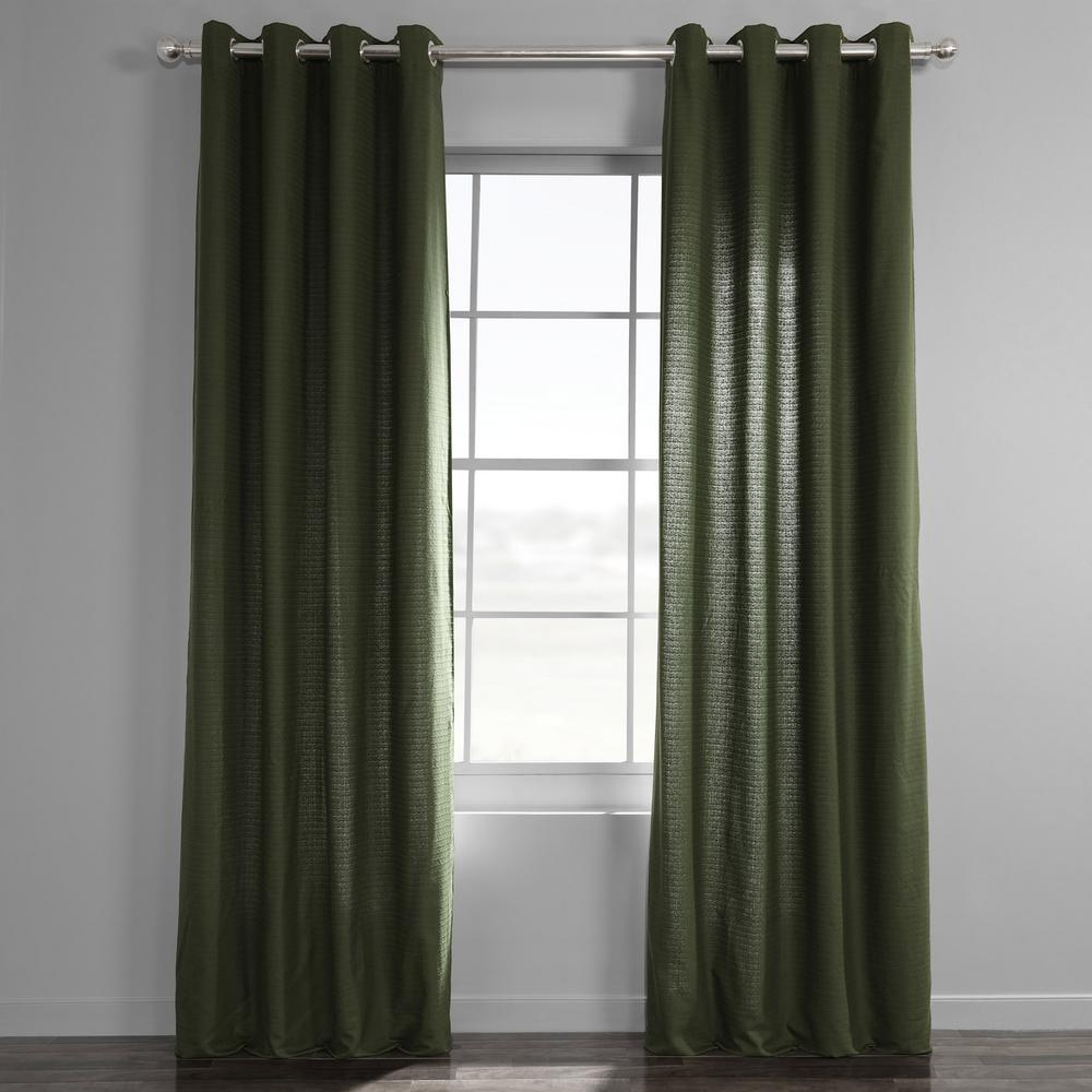 Exclusive Fabrics & Furnishings French Green Bark Weave Solid Cotton  Grommet Curtain – 50 In. W X 84 In. L Pertaining To Best And Newest Bark Weave Solid Cotton Curtains (Gallery 9 of 20)