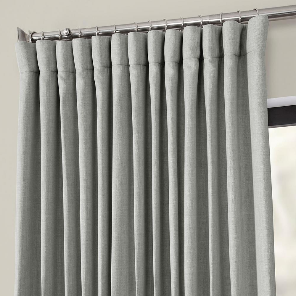 Exclusive Fabrics & Furnishings Heather Gray Faux Linen Extra Wide Blackout  Curtain – 100 In. W X 84 In (View 4 of 21)