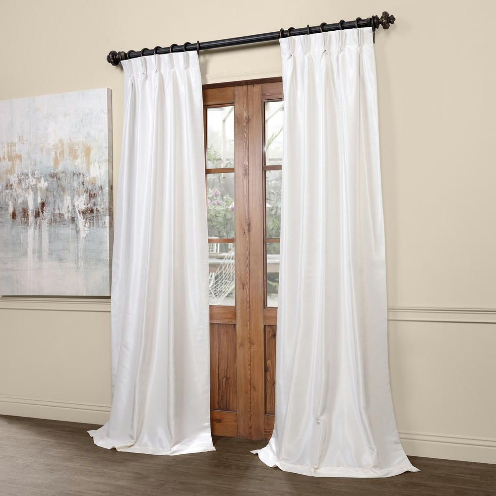 Exclusive Fabrics & Furnishings Off White Blackout Vintage Textured Faux  Dupioni Pleated Curtain – 25 In. W X 96 In. L Inside Current Off White Vintage Faux Textured Silk Curtains (Gallery 14 of 20)