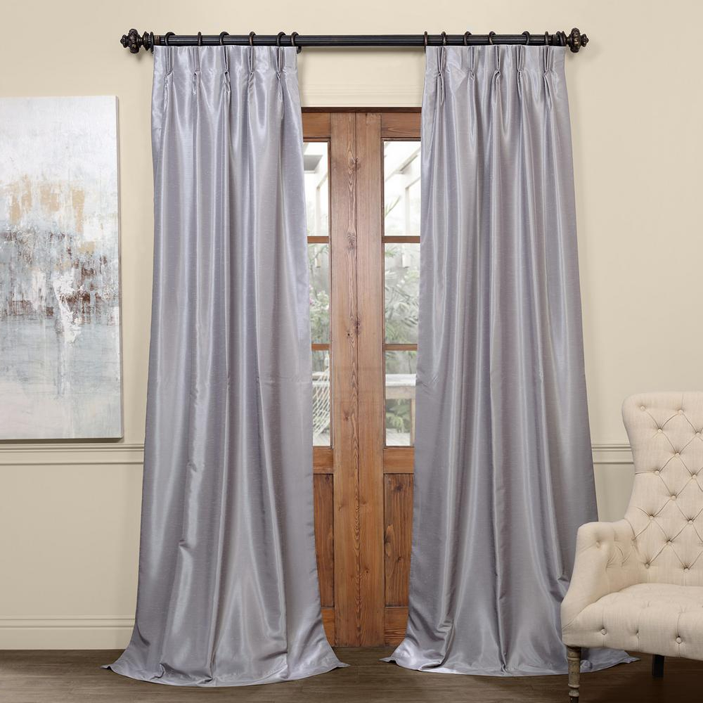 Exclusive Fabrics & Furnishings Silver Blackout Vintage Textured Faux  Dupioni Pleated Curtain – 25 In. W X 84 In. L With Most Up To Date Off White Vintage Faux Textured Silk Curtains (Gallery 20 of 20)