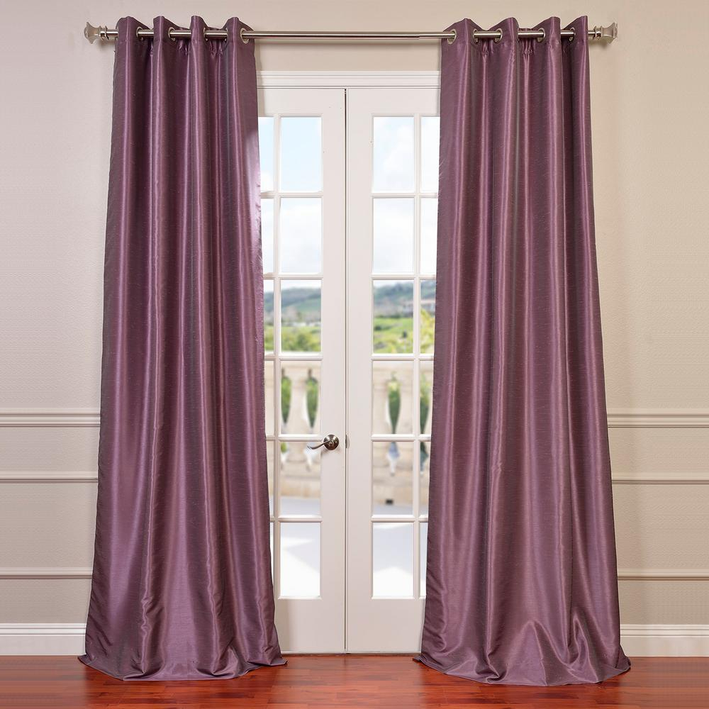 Exclusive Fabrics & Furnishings Smokey Plum Purple Grommet Blackout Vintage Textured Faux Dupioni Silk Curtain – 50 In. W X 84 In (View 3 of 20)