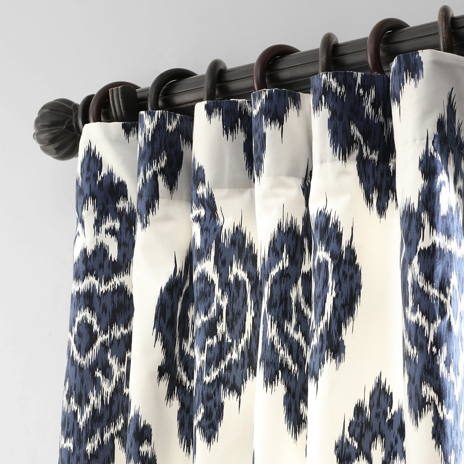 Exclusive Fabrics Ikat Blue Printed Cotton Curtain Panel Intended For Popular Ikat Blue Printed Cotton Curtain Panels (Gallery 7 of 20)