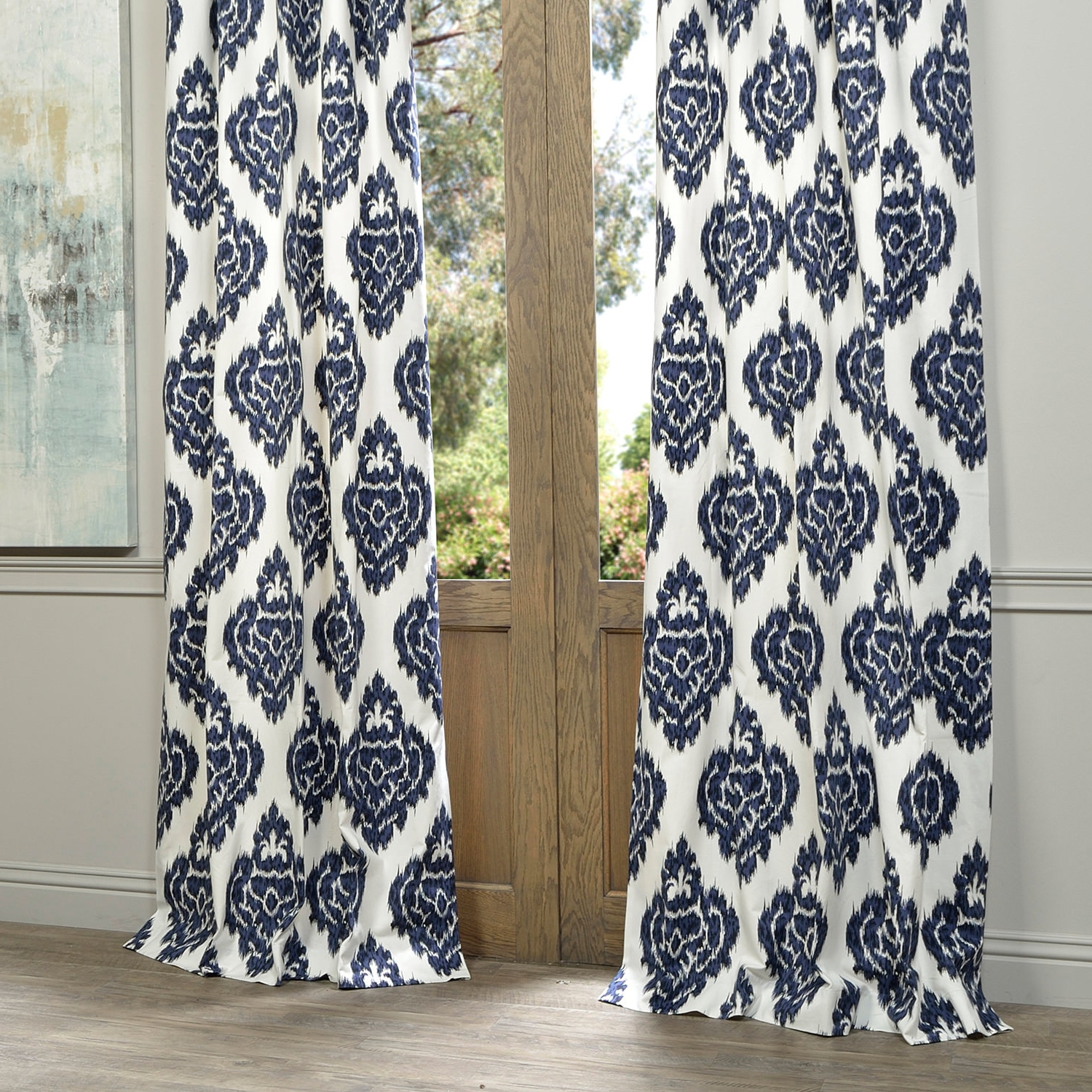 Exclusive Fabrics Ikat Blue Printed Cotton Curtain Panel With Most Up To Date Ikat Blue Printed Cotton Curtain Panels (Gallery 4 of 20)