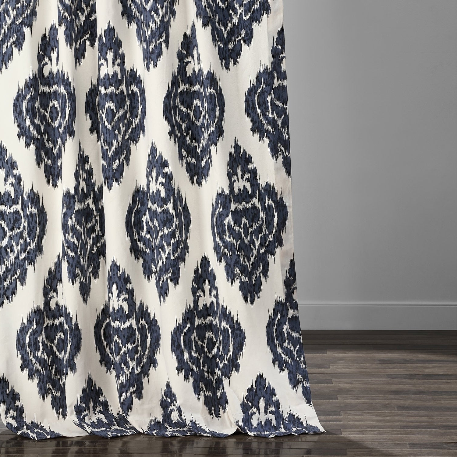 Exclusive Fabrics Ikat Blue Printed Cotton Curtain Panel With Regard To Preferred Ikat Blue Printed Cotton Curtain Panels (View 5 of 20)